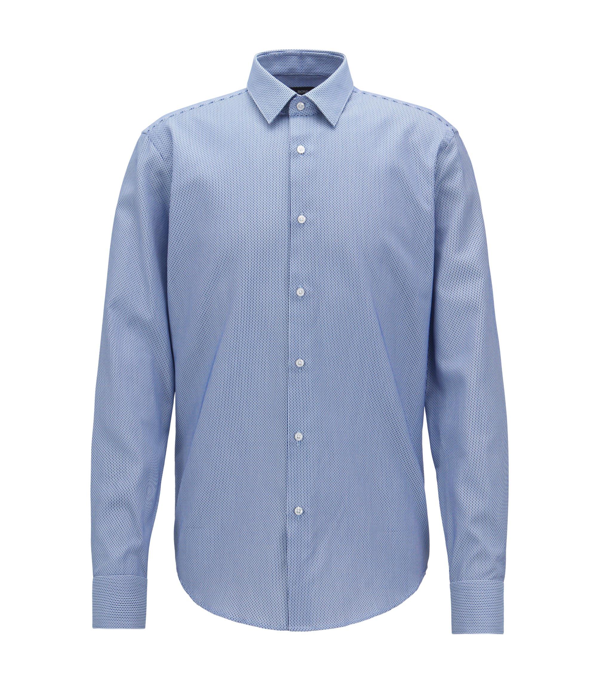 Regular-Fit Hemd aus Baumwolle mit zweifarbiger Struktur, Blau