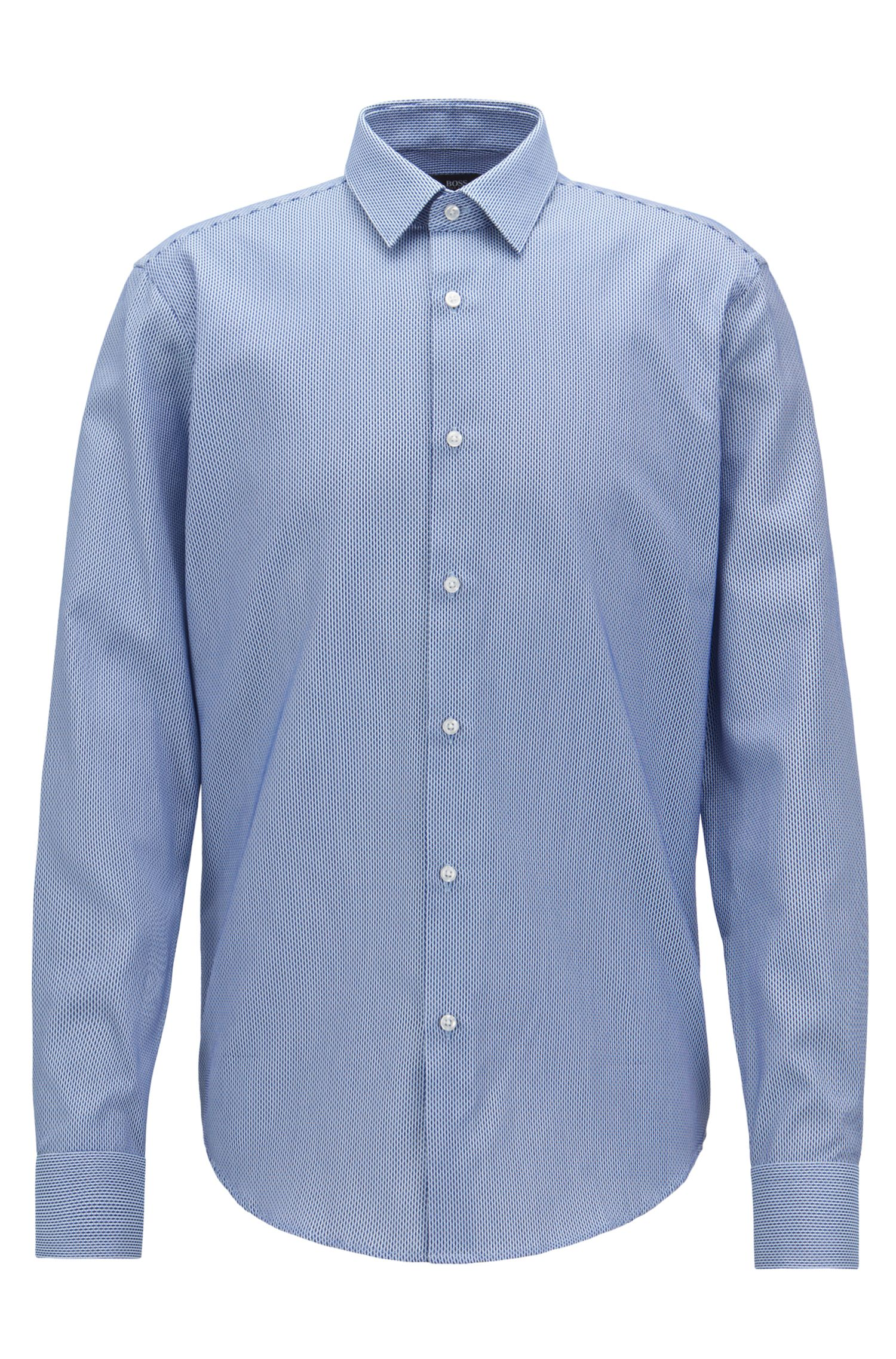 Regular-fit cotton shirt with two-tone micro structure