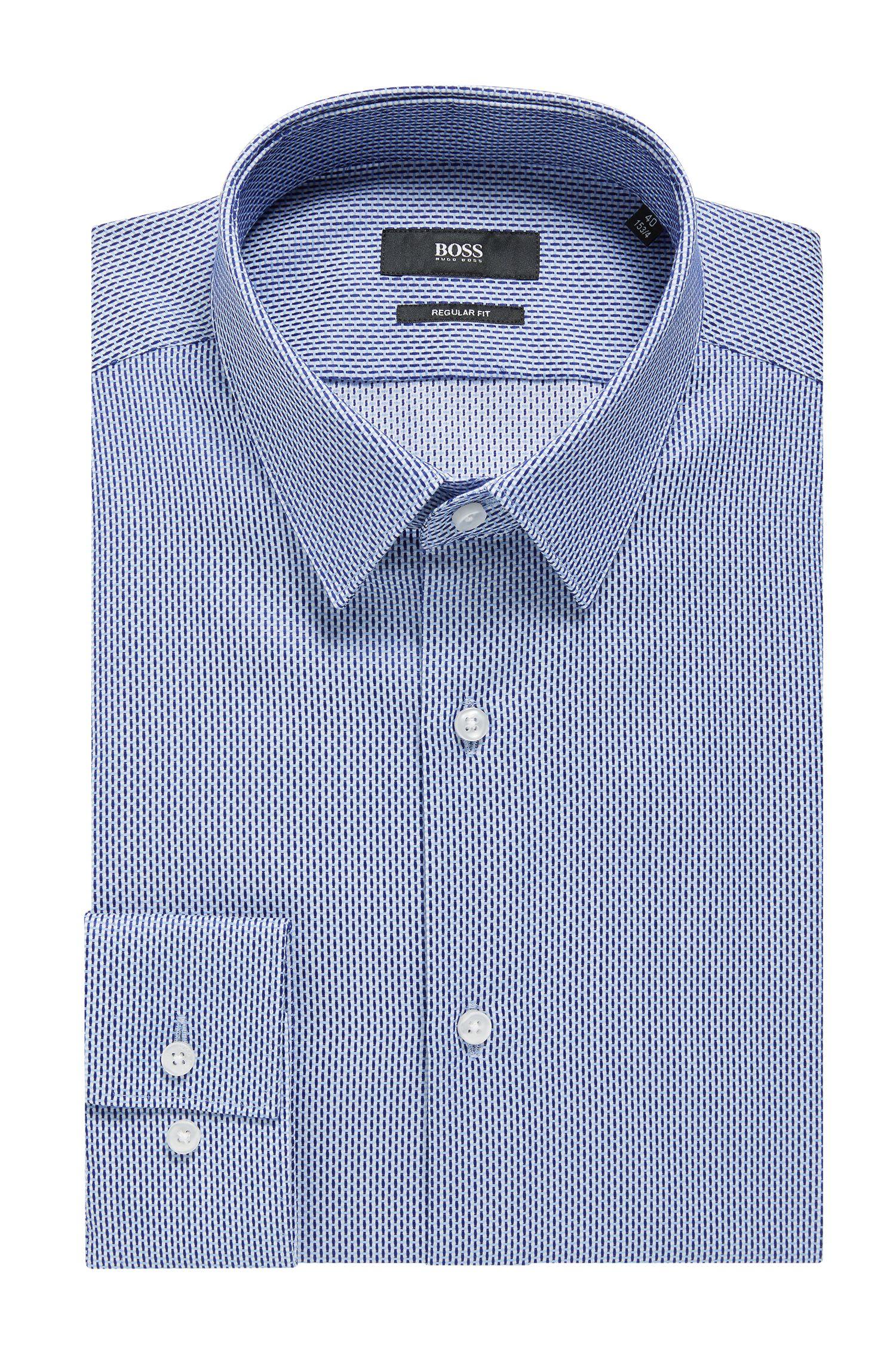 Regular-fit overhemd van katoen met tweekleurige microstructuur, Blauw