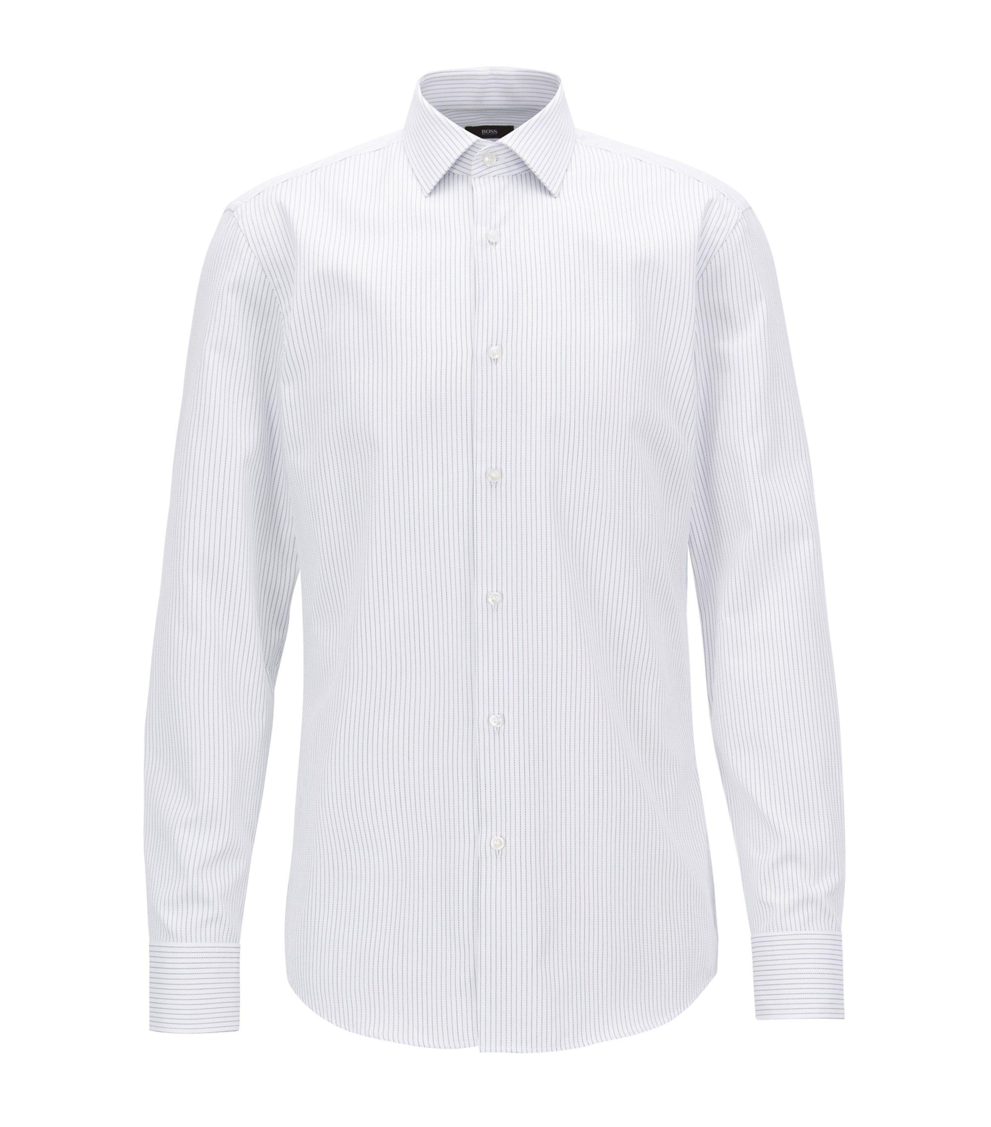 Slim-Fit Hemd aus dezent strukturierter Baumwolle mit Streifen-Muster, Weiß