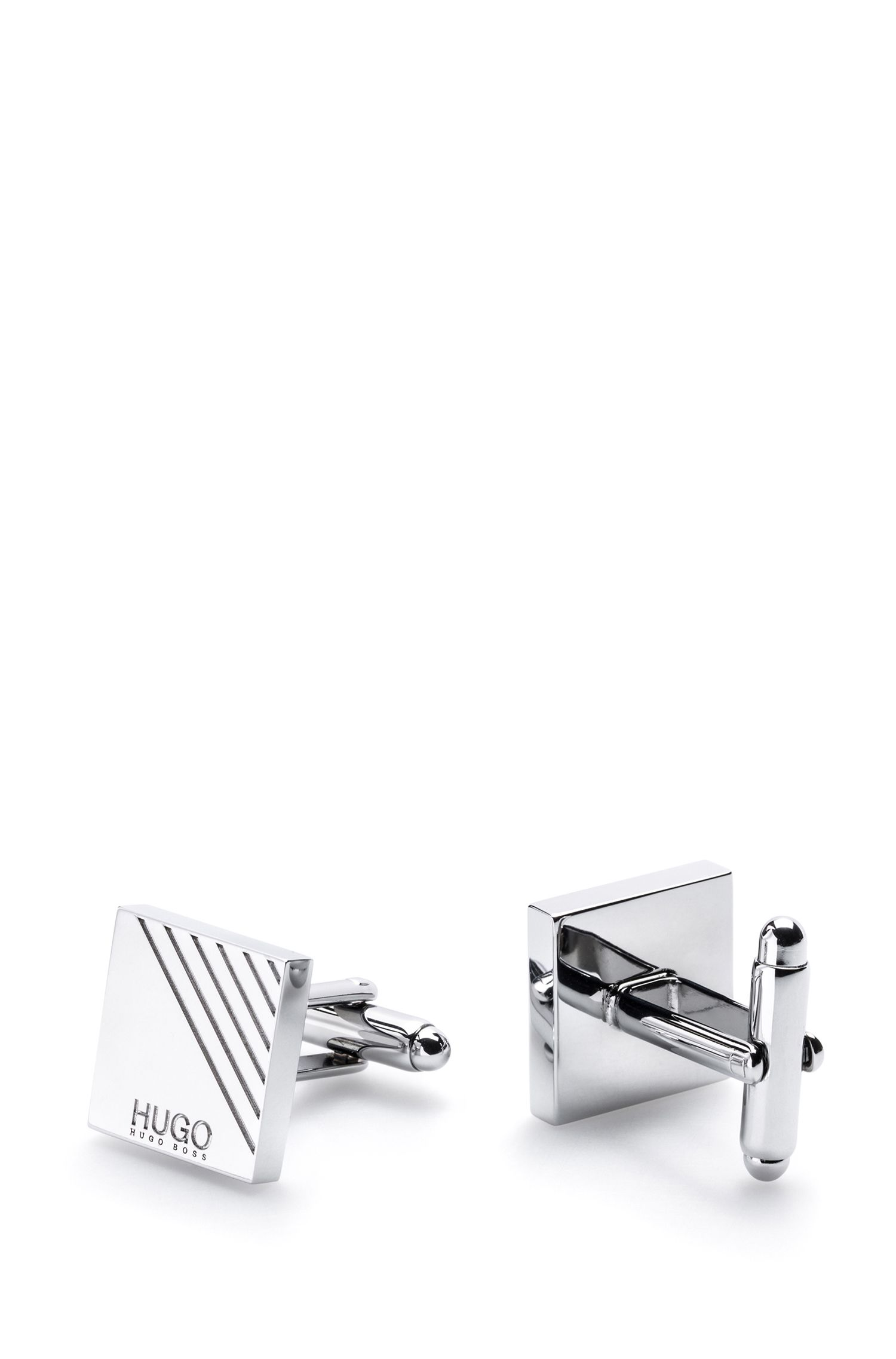 Square cufflinks in polished brass with linear motif, Silver
