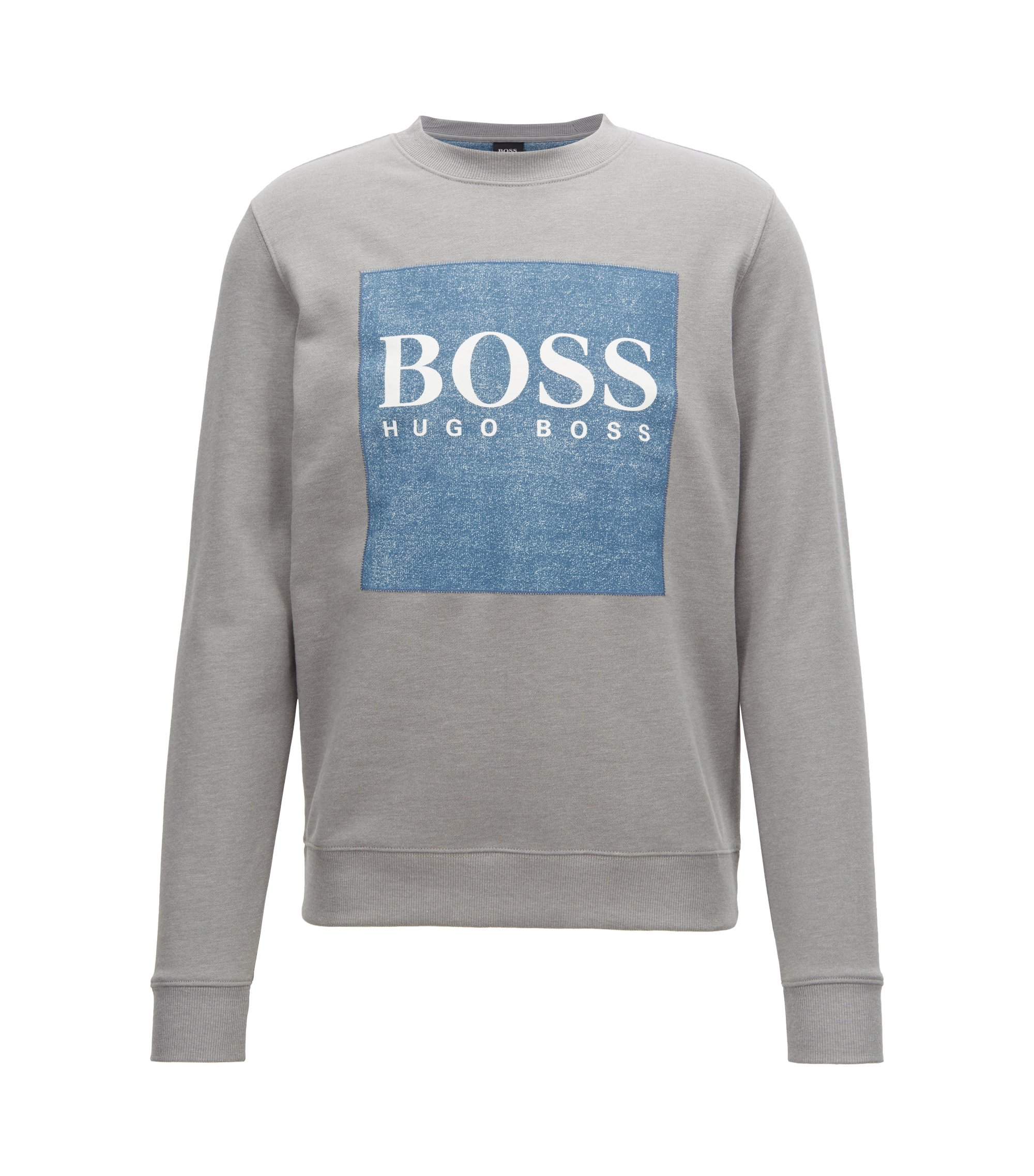 French-terry sweatshirt with denim-look logo patch, Light Grey
