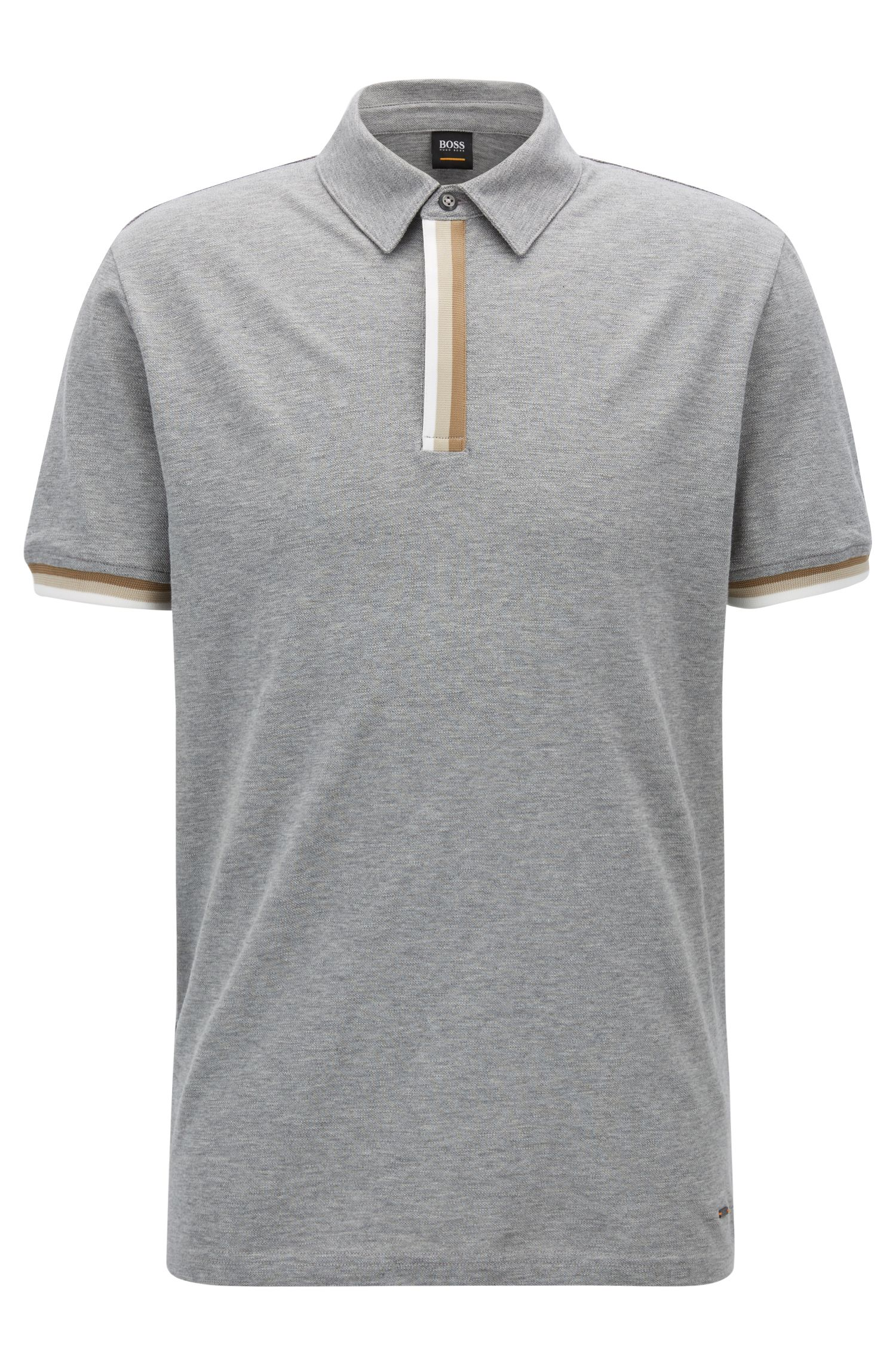 Relaxed-fit piqué polo shirt with striped tape trims, Light Grey