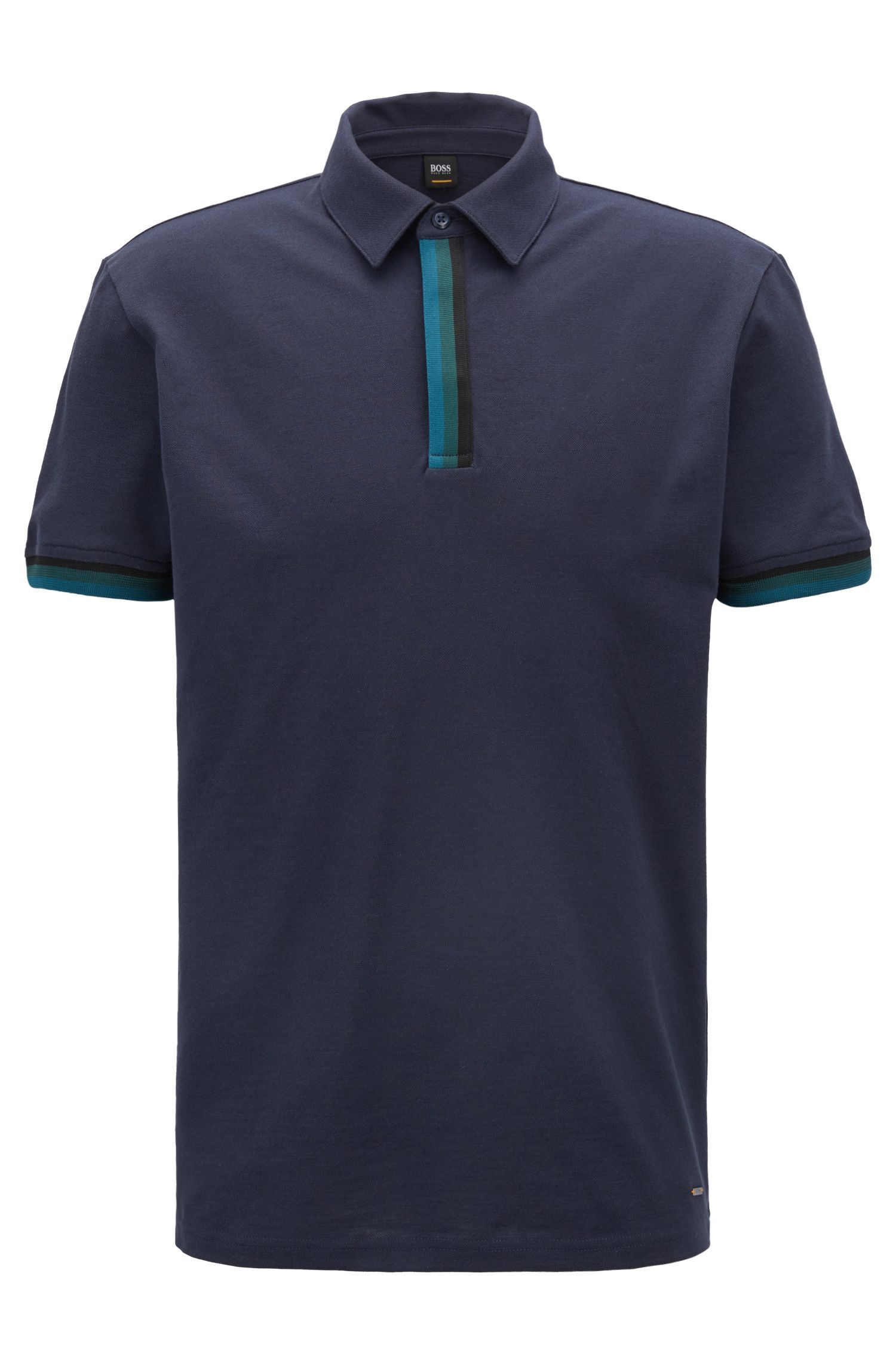 Relaxed-fit piqué polo shirt with striped tape trims, Dark Blue