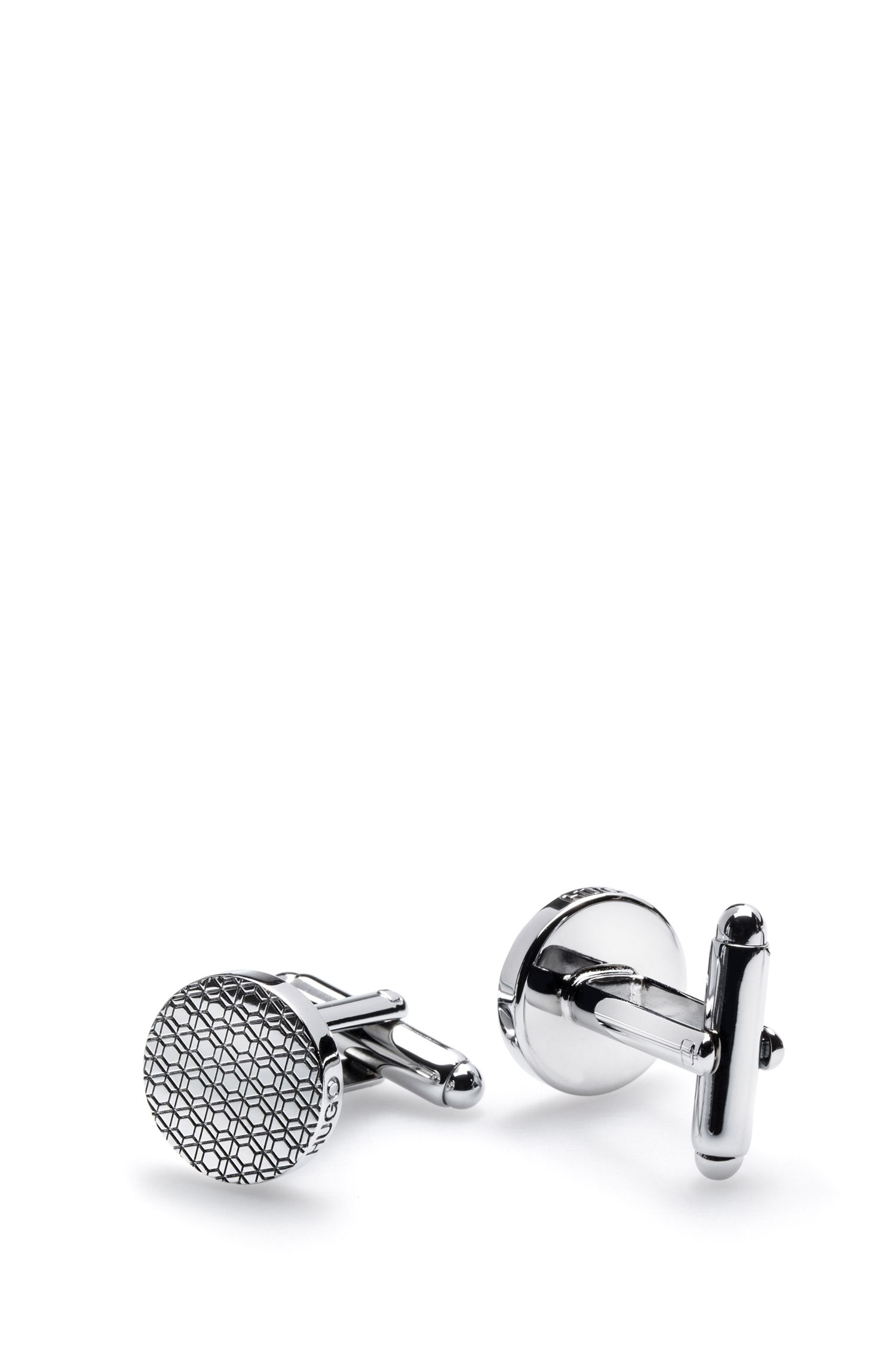 Runde Manschettenknöpfe aus poliertem Messing mit geometrischer Gravur, Silber