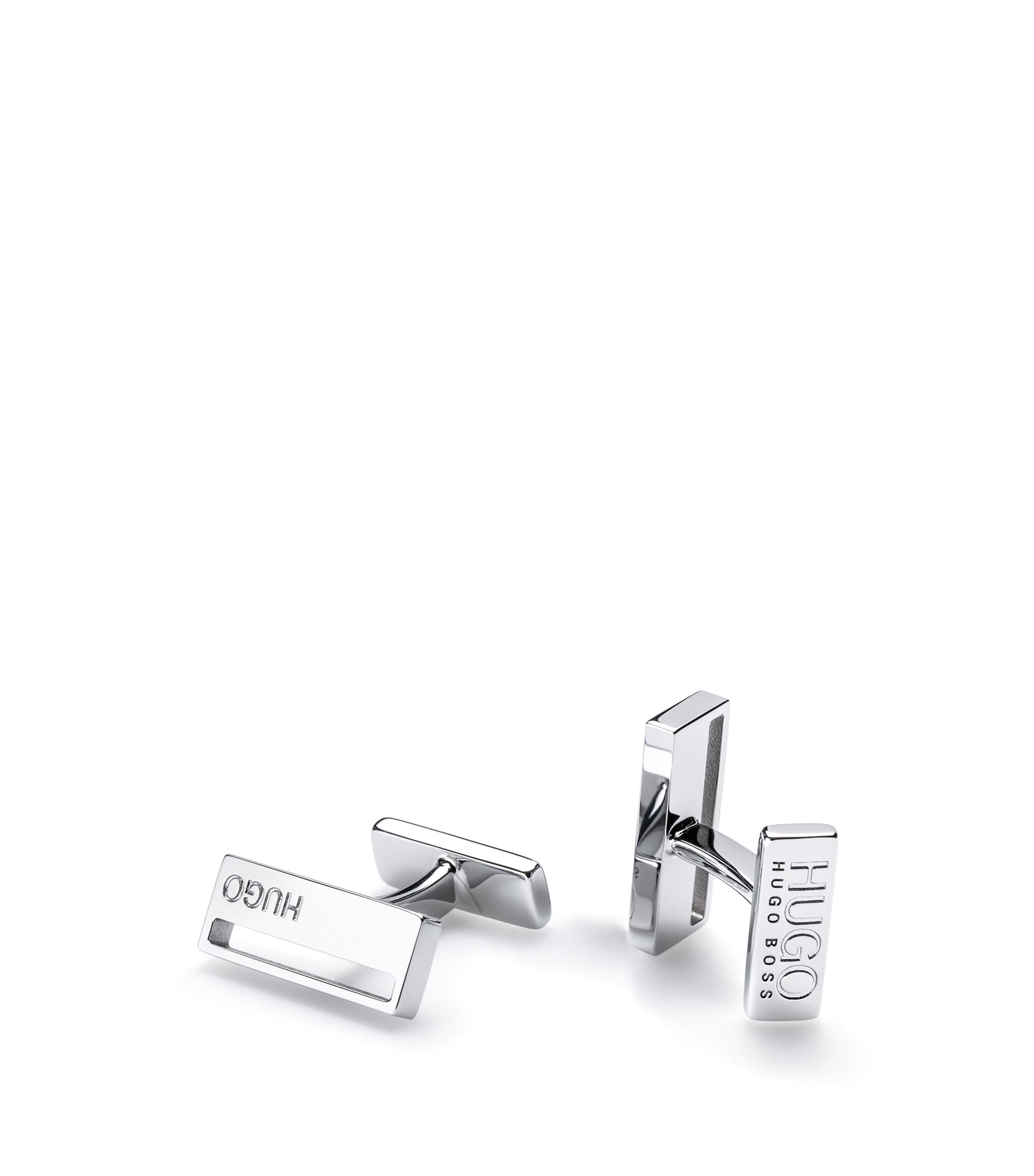 Rectangular brass cufflinks with cutout detail, Silver