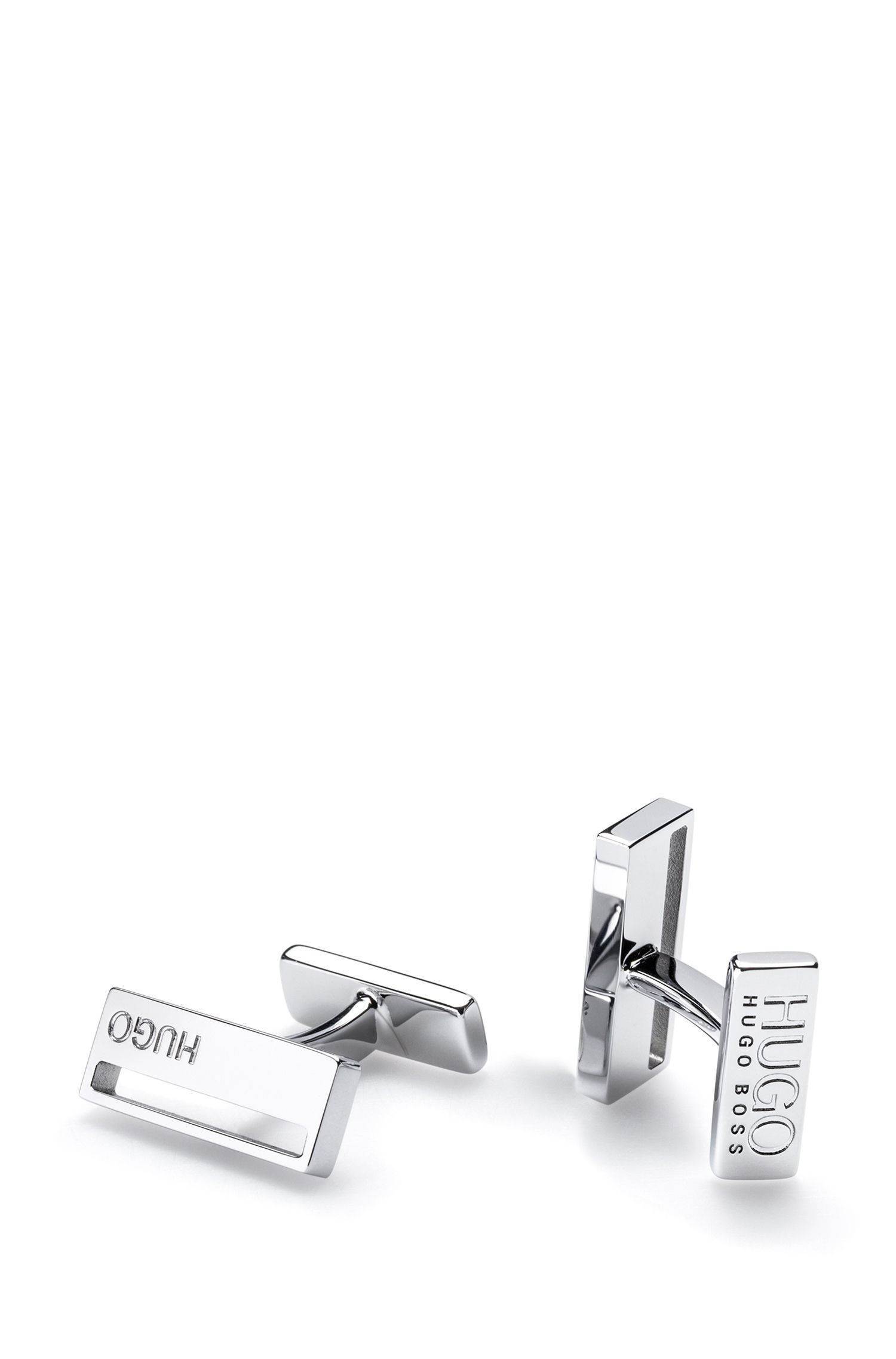 Rectangular brass cufflinks with cutout detail