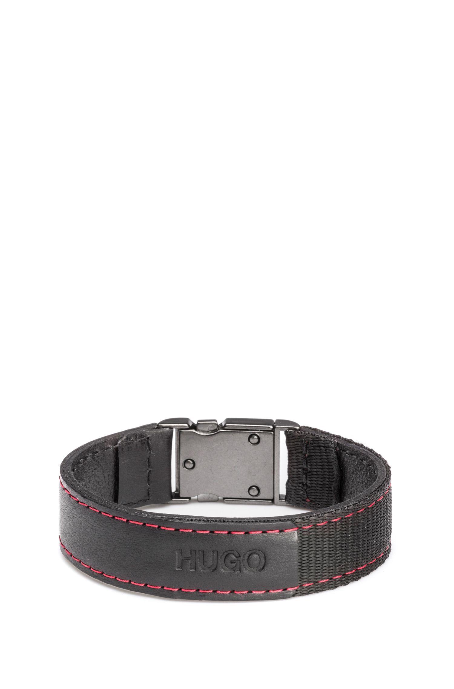 Armband aus italienischem Leder mit Webband und roten Naht-Details, Schwarz
