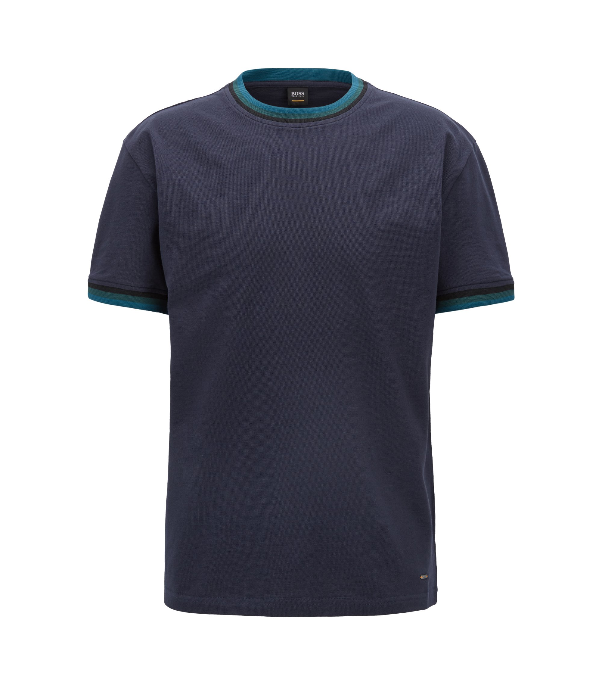 T-Shirt aus merzerisierter Baumwolle mit gestreiften Bändern, Dunkelblau