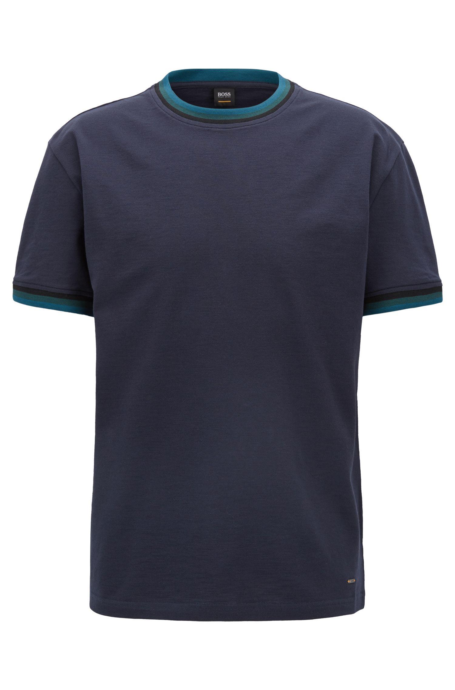 T-shirt van gemerceriseerde katoen met gestreepte biesdetails, Donkerblauw