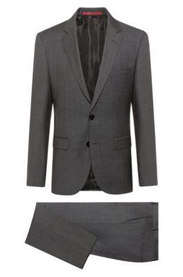 Regular-Fit Anzug aus Schurwolle mit filigraner Twill-Struktur, Dunkelgrau