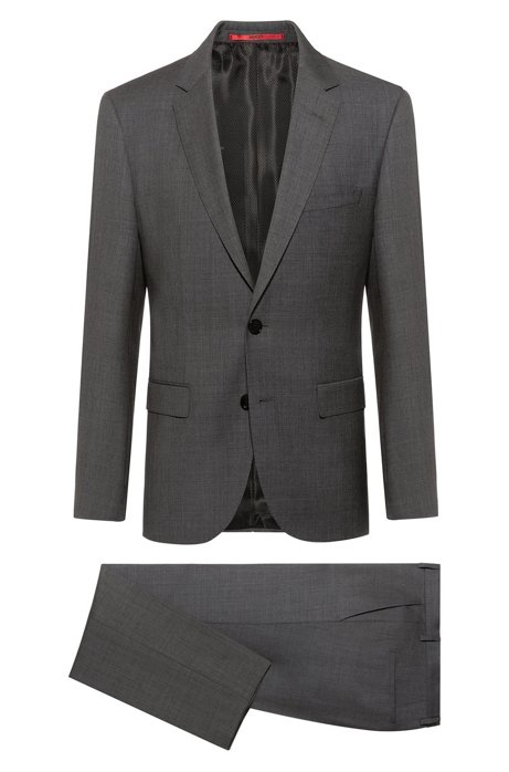 Regular-fit suit in virgin wool micro twill, Dark Grey