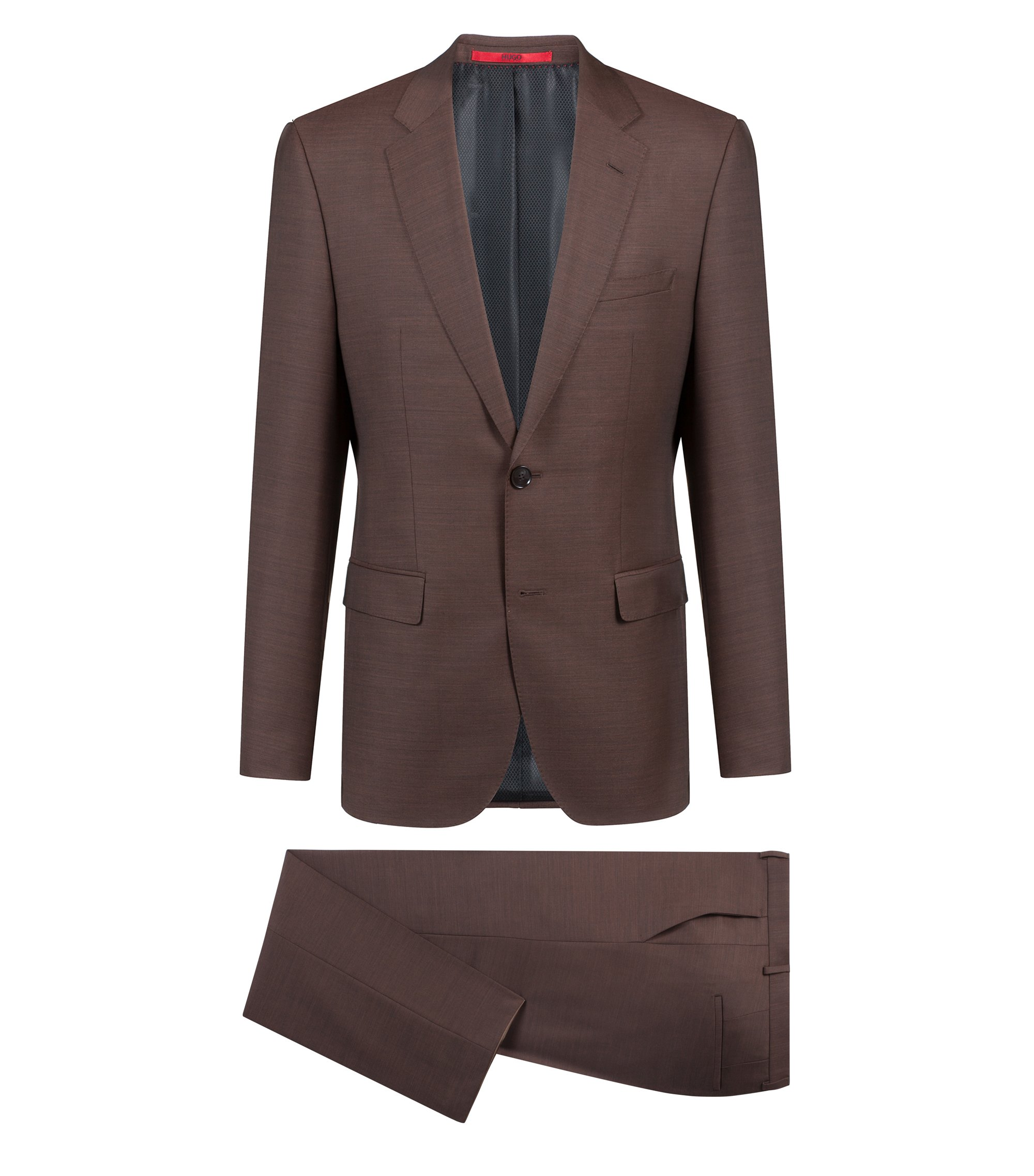 Costume Regular Fit en micro twill de laine vierge, Marron