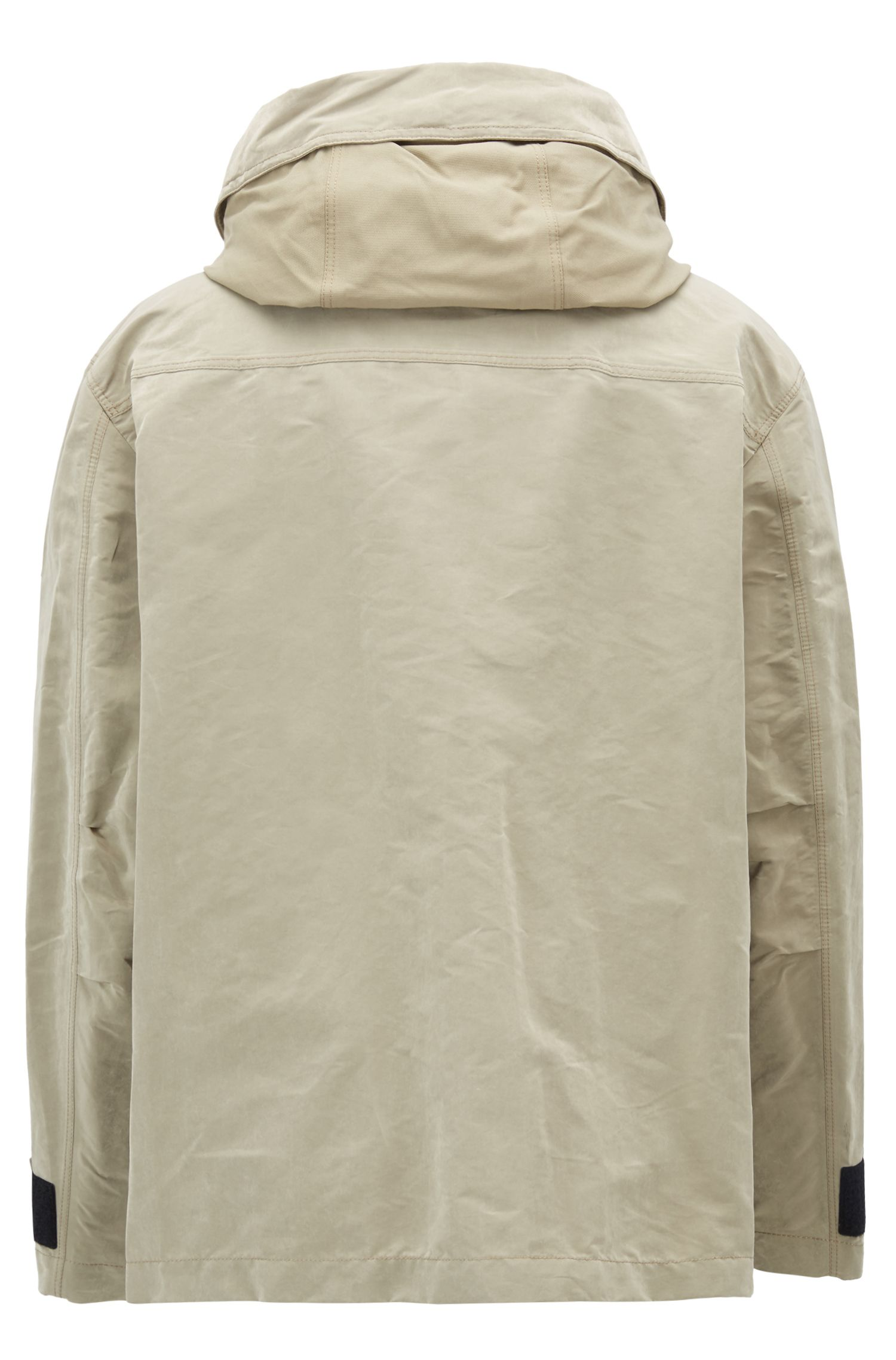 Parka Relaxed Fit en tissu technique ciré, Beige