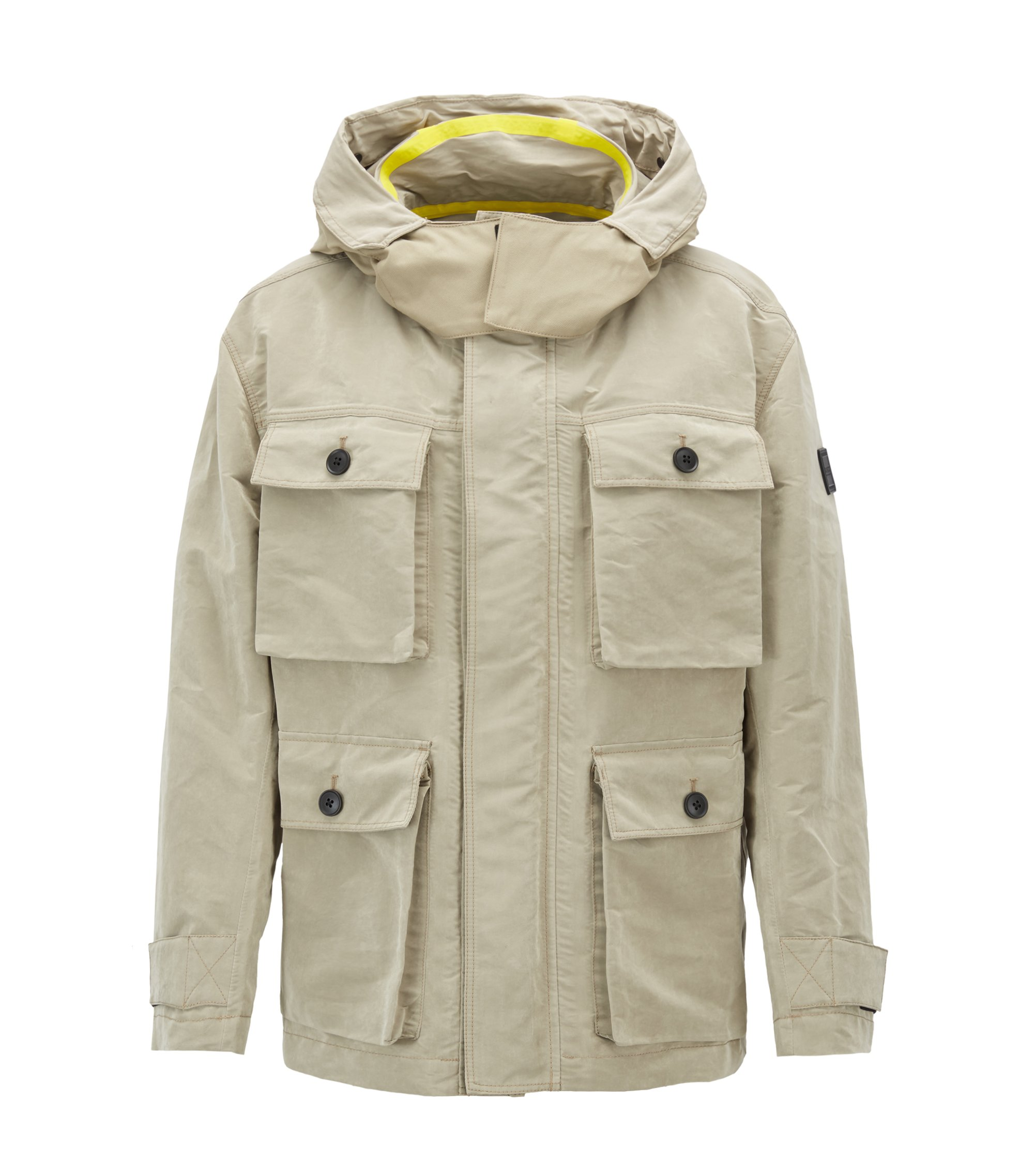 Relaxed-fit parka in waxed technical fabric, Beige