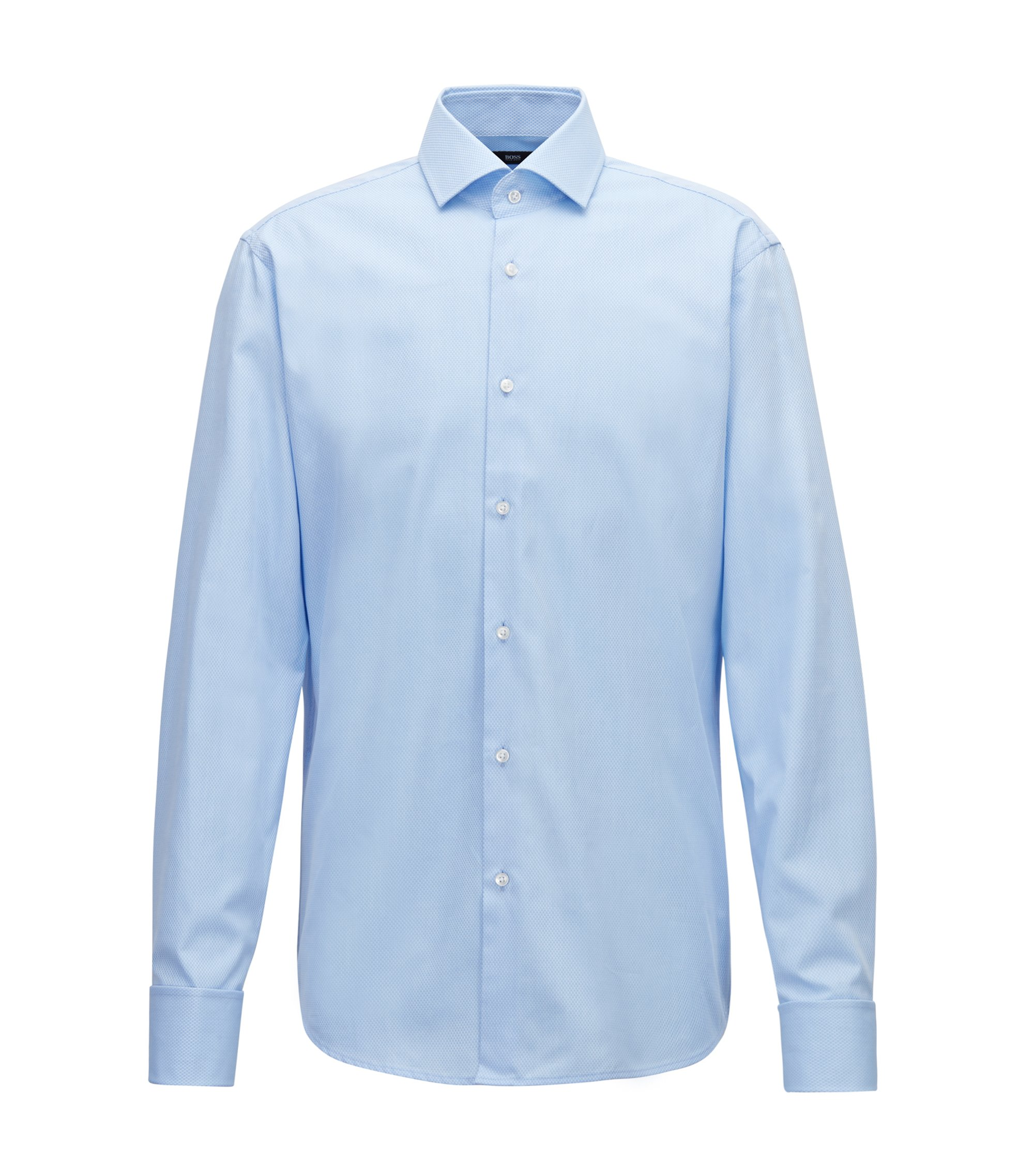 Regular-fit shirt in micro-patterned dobby cotton, Light Blue