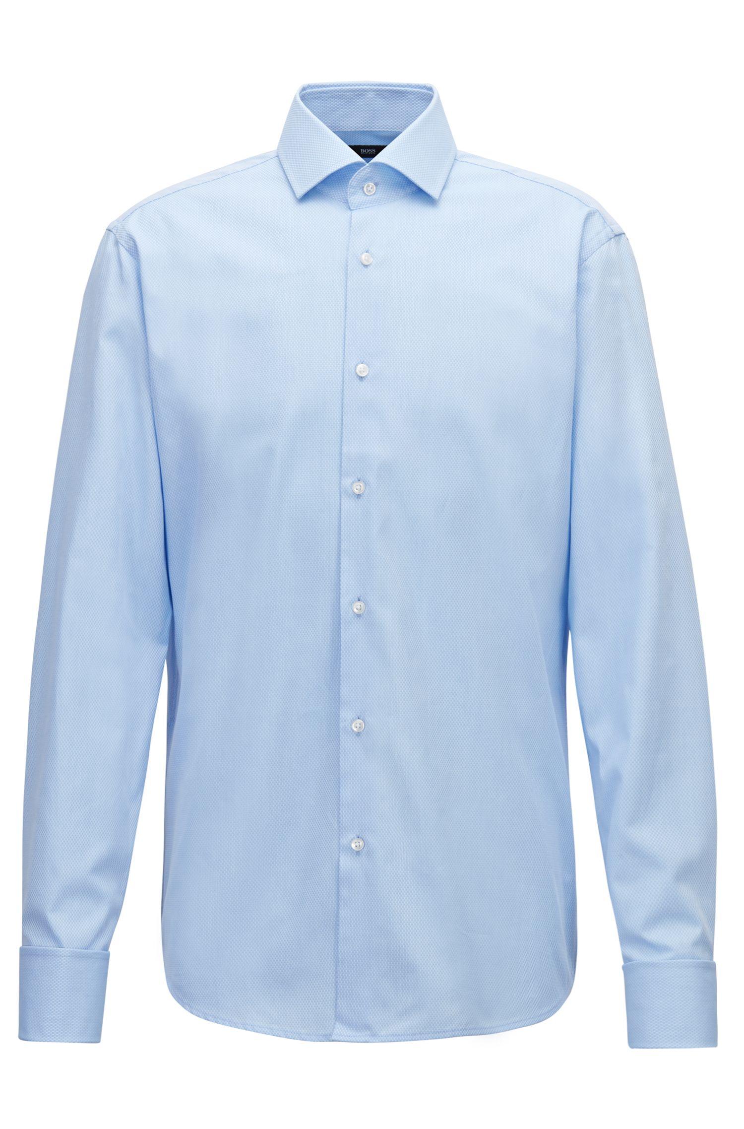 Chemise Regular Fit en coton façonné à micro-motif, Bleu vif