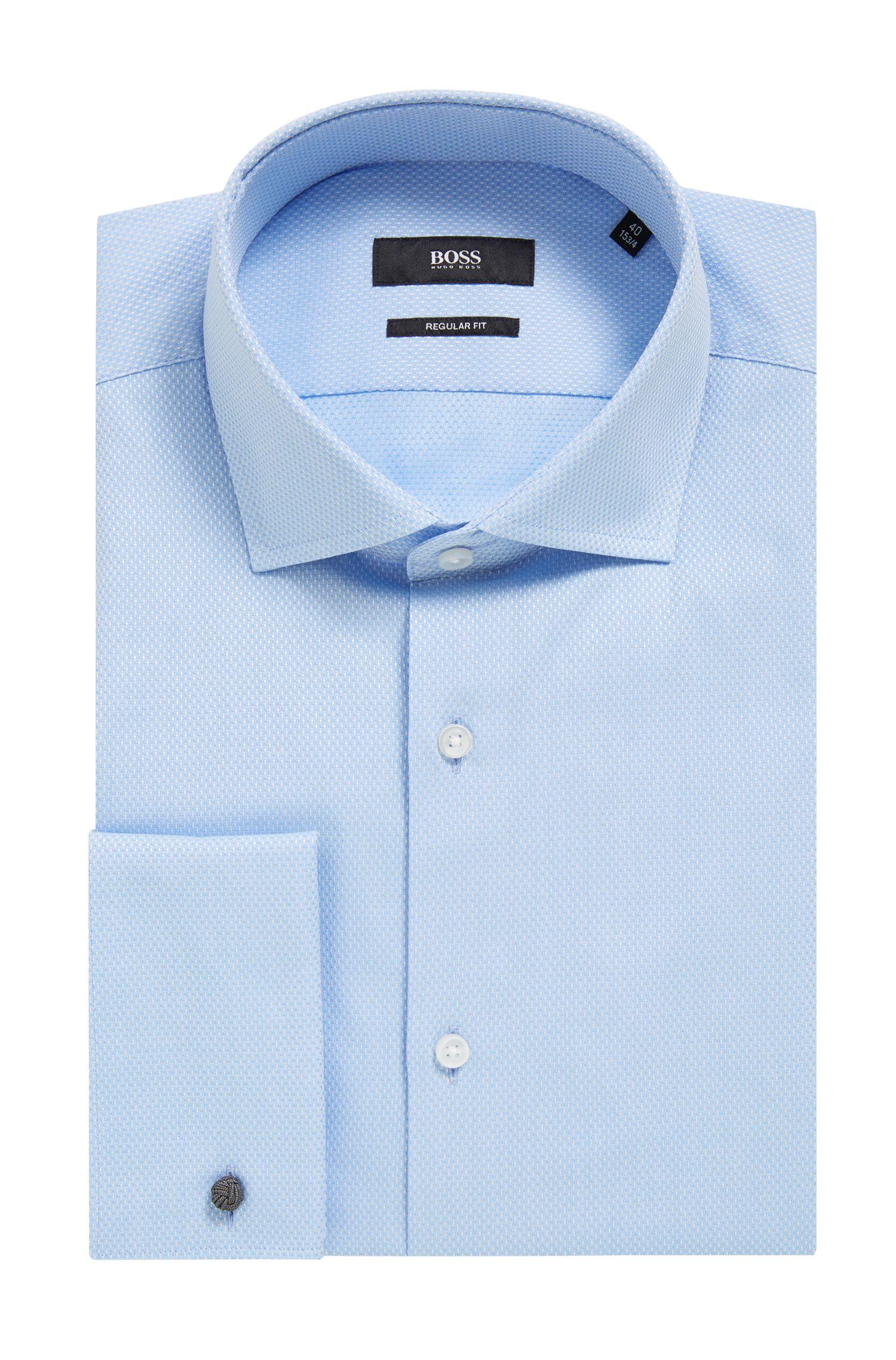 Regular-Fit Hemd aus fein gemusterter Baumwolle mit Struktur, Hellblau