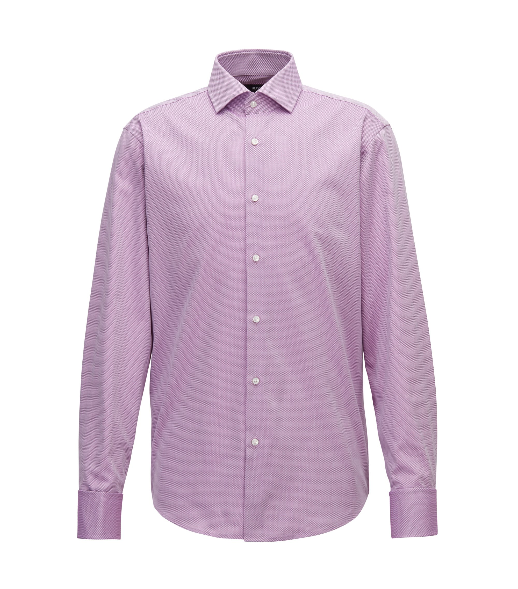 Camicia regular fit in cotone dobby con microdisegni, Rosa scuro