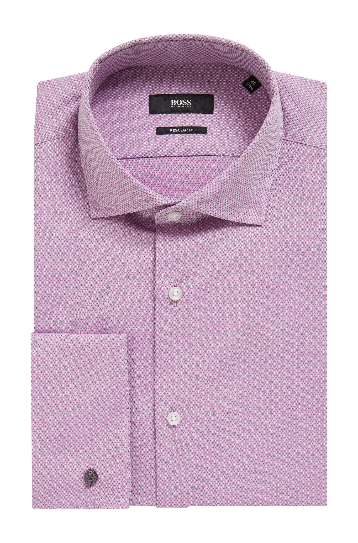 Regular-fit shirt in micro-patterned dobby cotton, Dark pink
