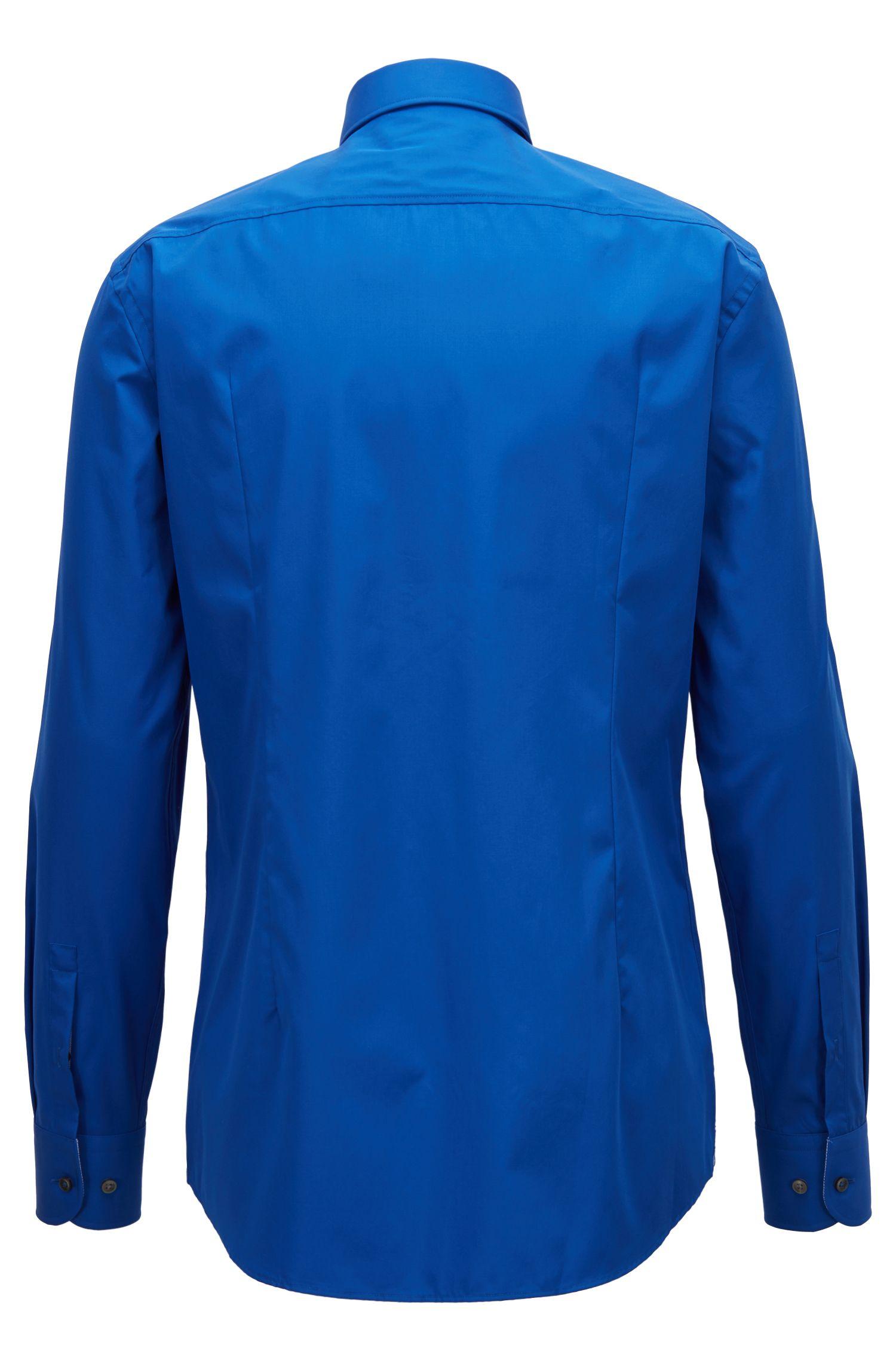 Camisa slim fit en popelín de algodón y planchado fácil, Azul
