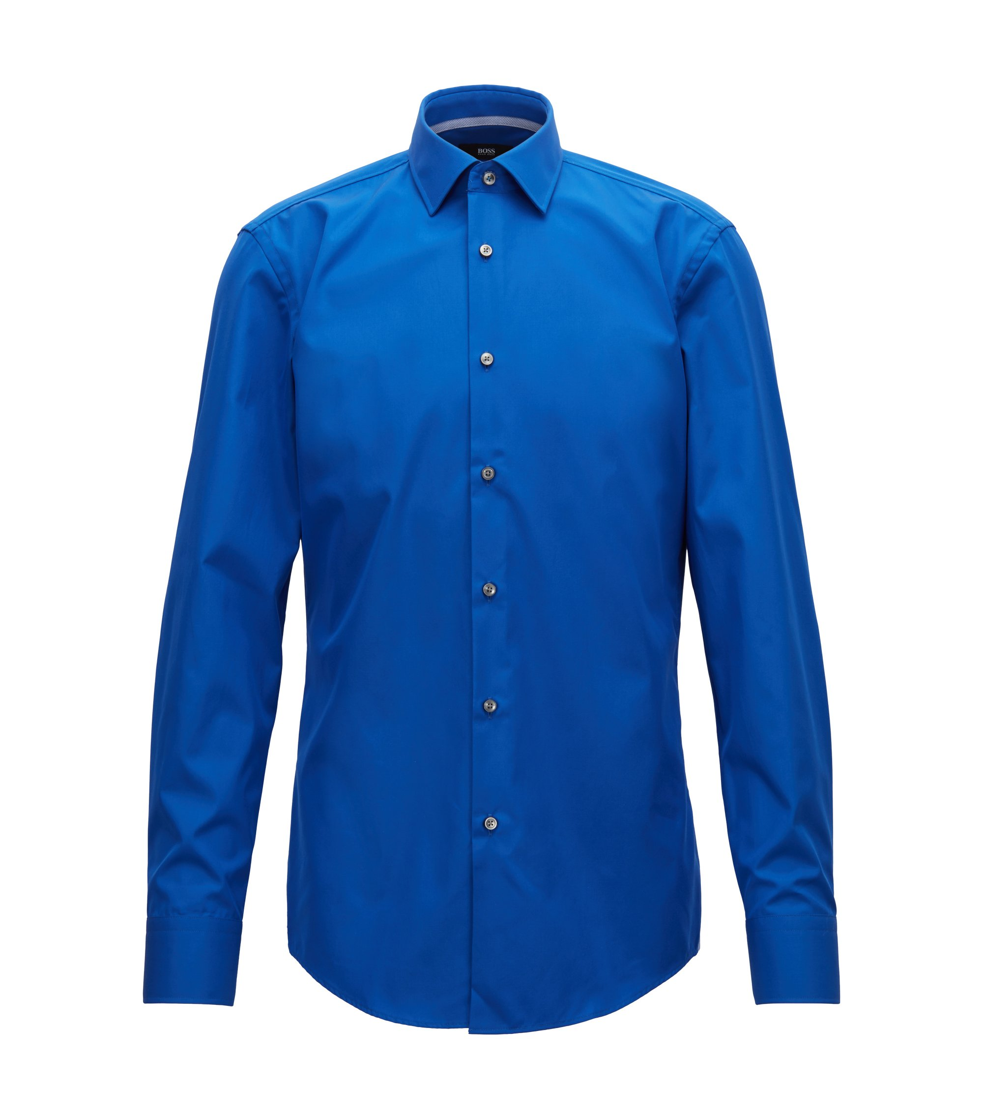 Slim-fit shirt in easy-iron cotton poplin, Blue
