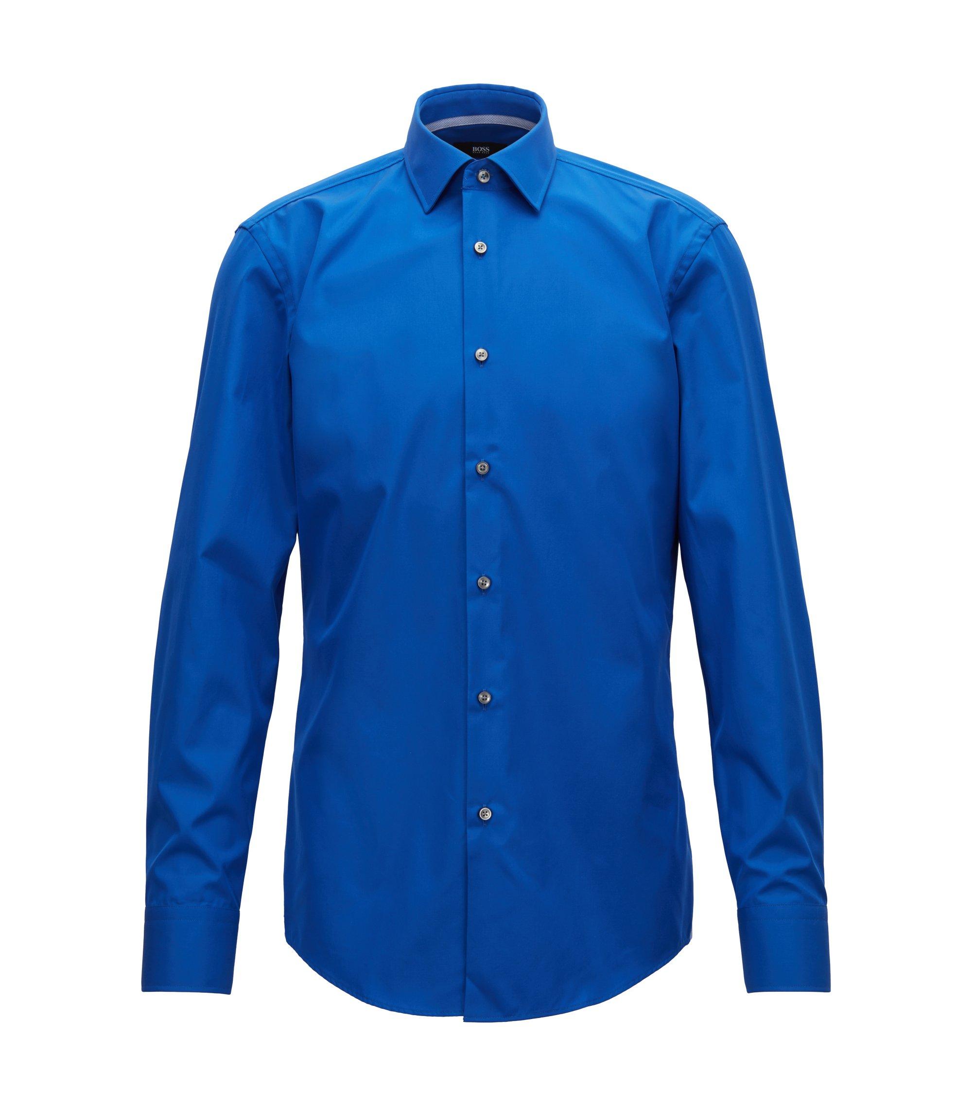 Chemise Slim Fit en popeline de coton facile à repasser, Bleu