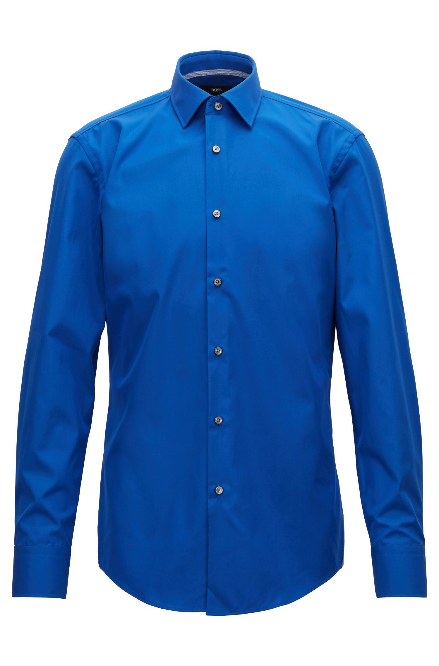 Slim-fit overhemd van gemakkelijk te strijken katoenen popeline, Blauw