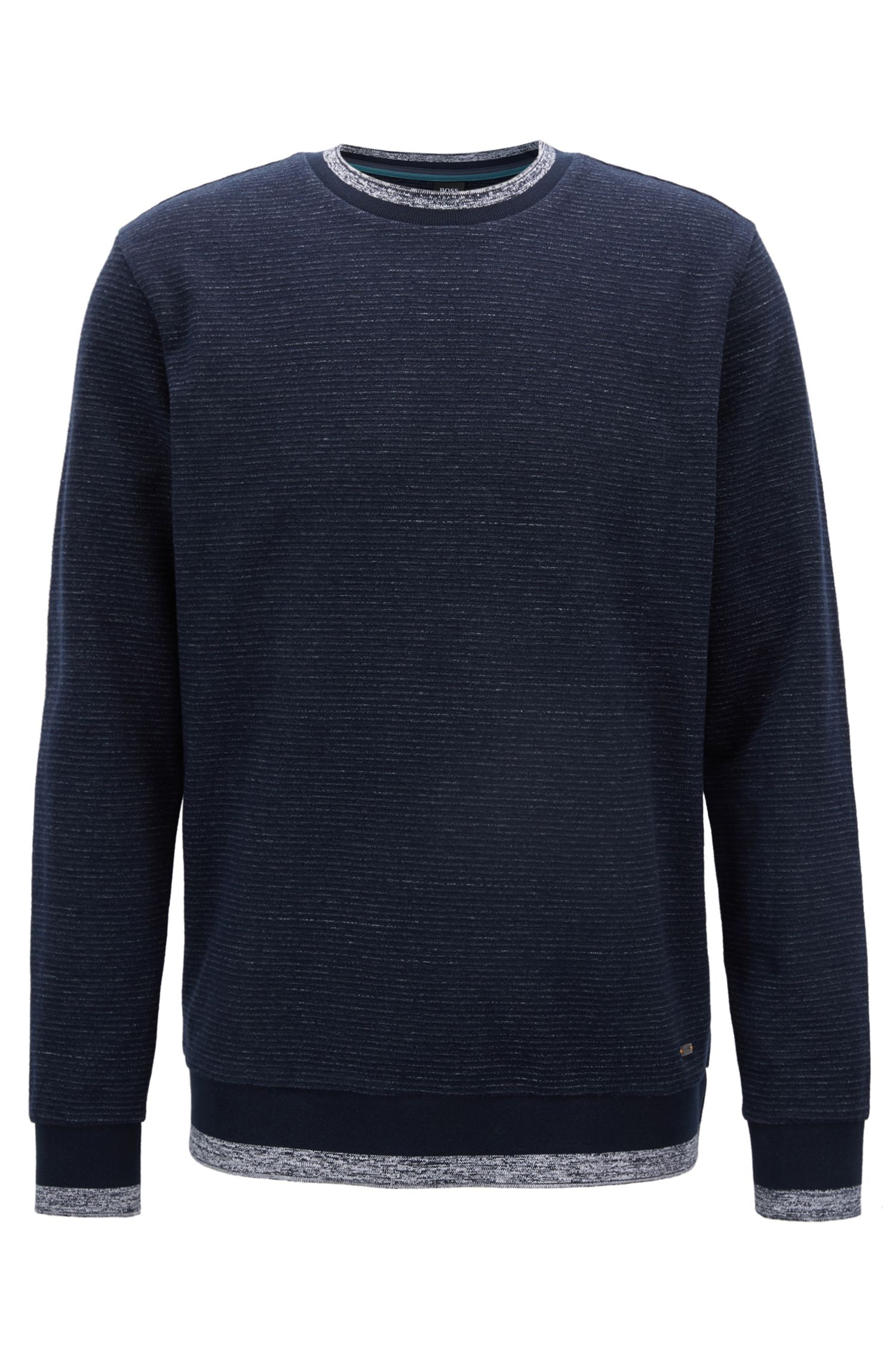 Lightweight sweatshirt in heathered ottoman fabric, Dark Blue