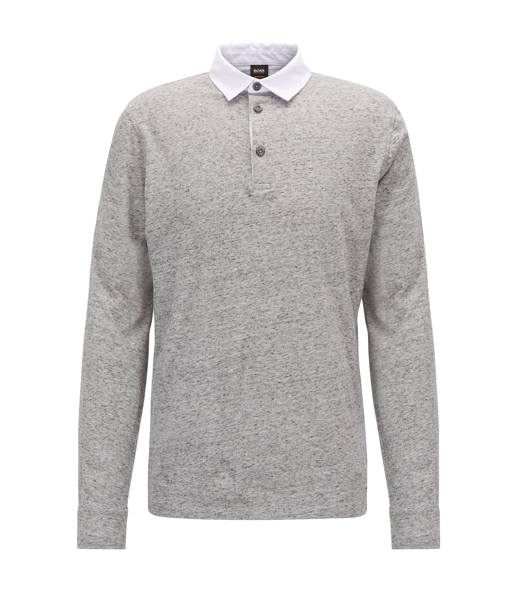 Relaxed-fit polo shirt in melange jersey cotton, Light Grey
