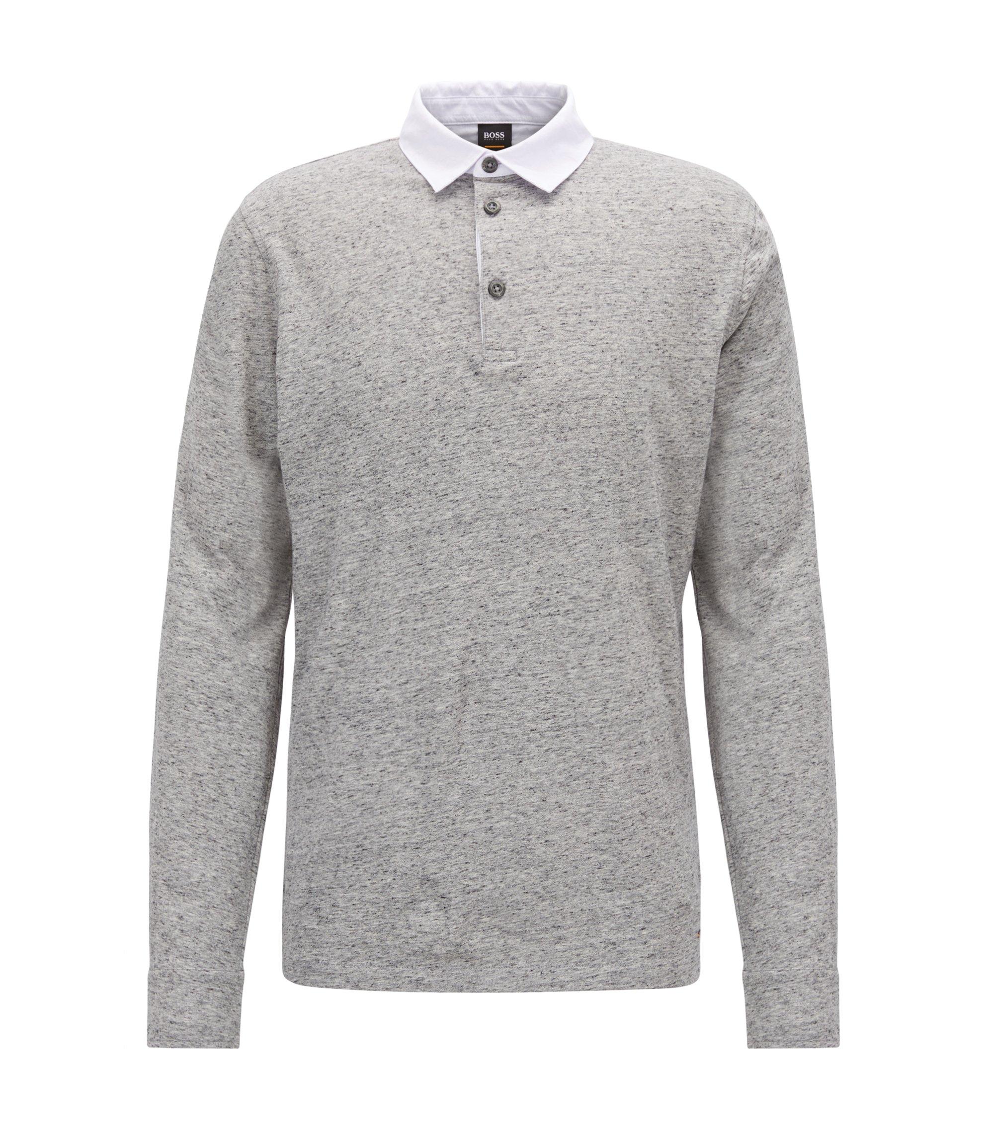 Relaxed-Fit Poloshirt aus meliertem Baumwoll-Jersey, Hellgrau