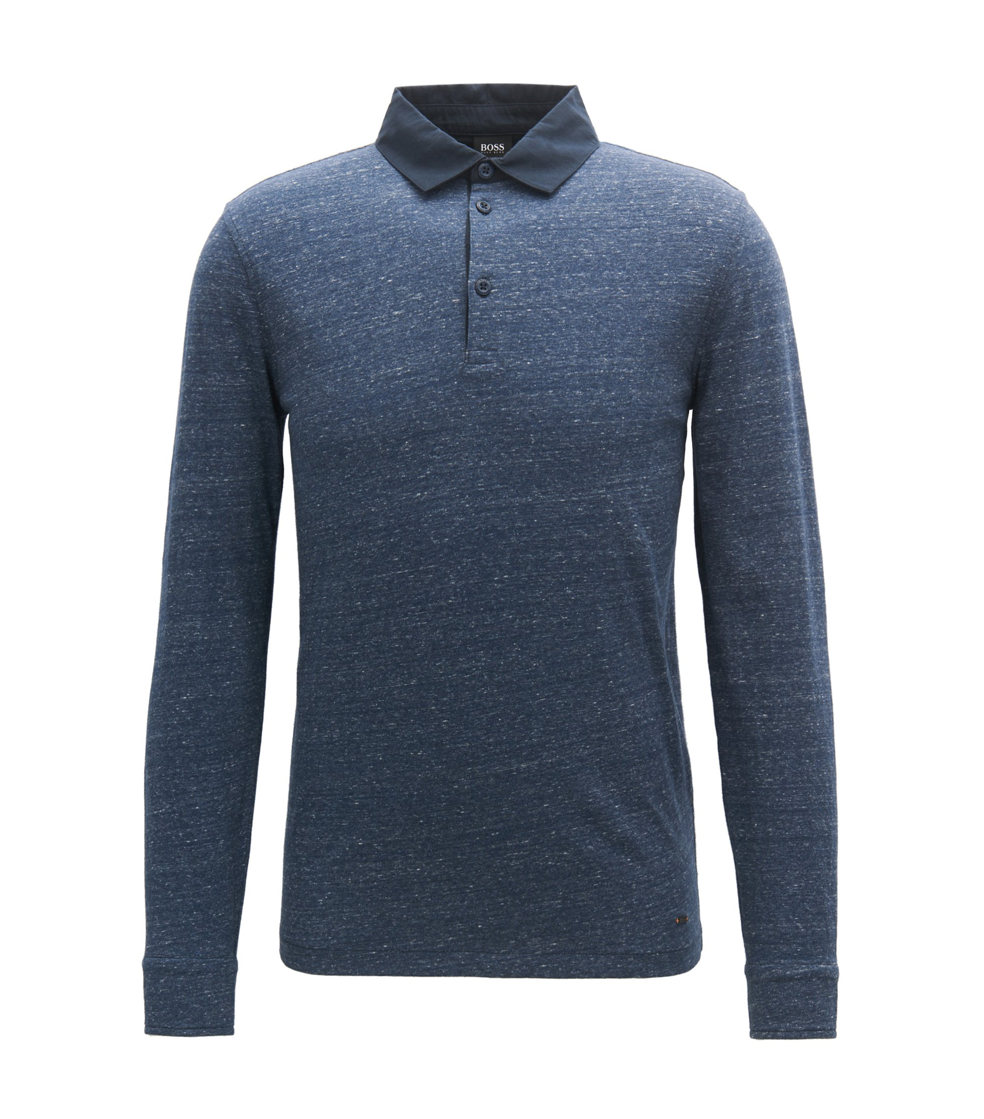 Polo relaxed fit in jersey di cotone mélange, Blu scuro