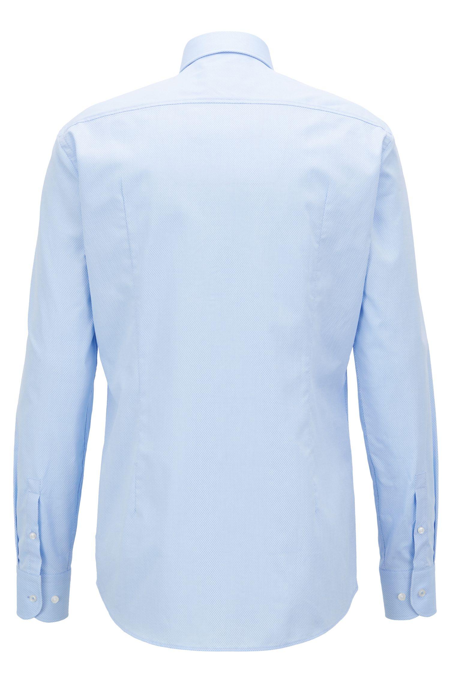 Slim-Fit Hemd aus dezent strukturierter Baumwolle, Hellblau