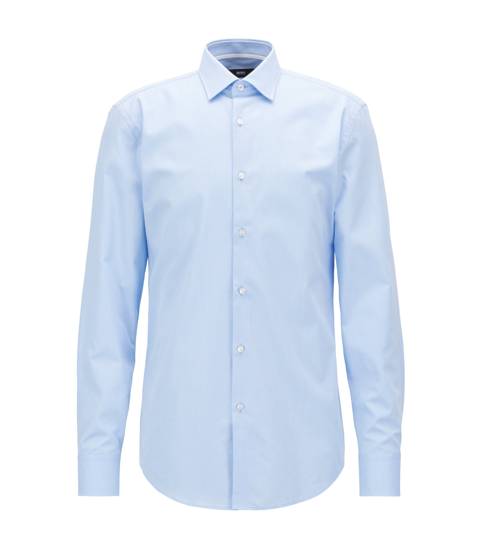 Slim-fit shirt in micro-structured dobby cotton, Light Blue