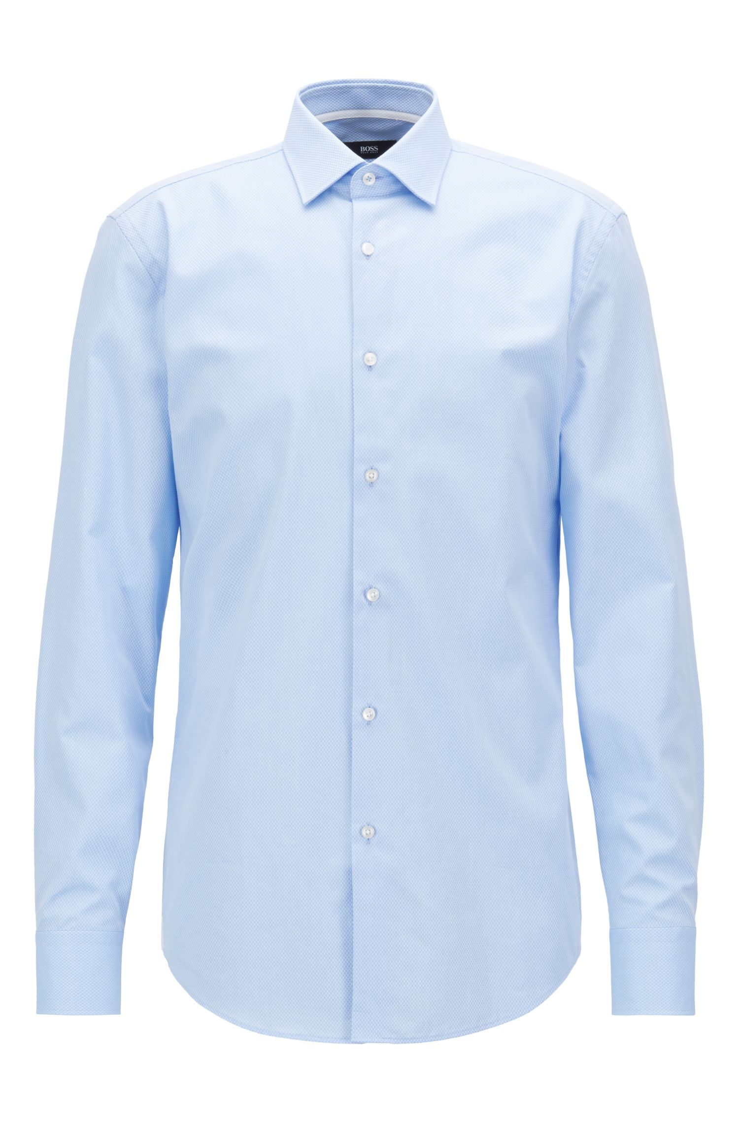 Slim-fit shirt in micro-structured dobby cotton
