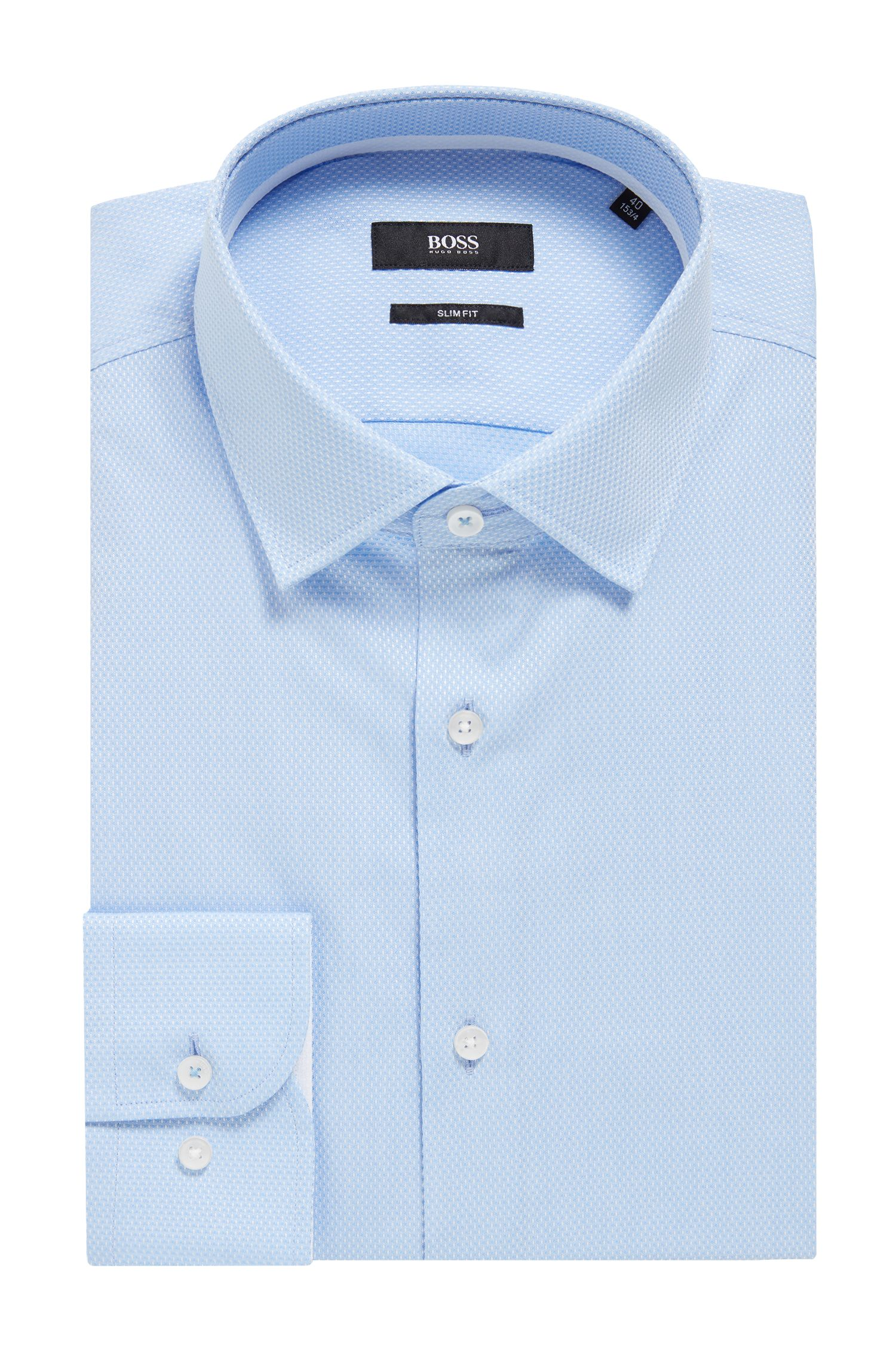 Camisa slim fit en algodón dobby con microtextura, Celeste