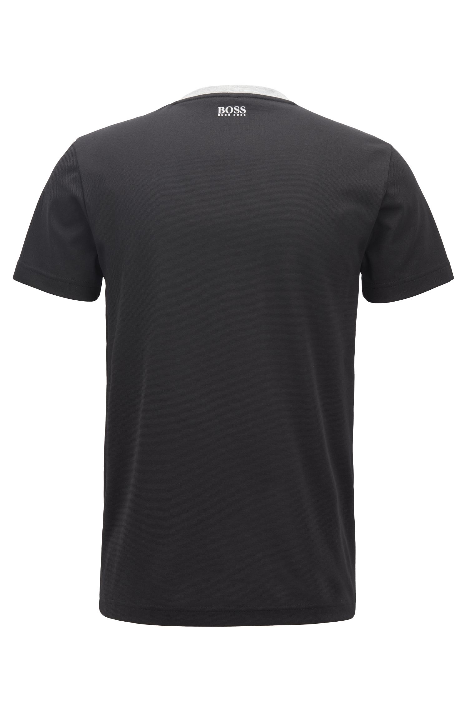 Slim-fit logo T-shirt with moisture-management, Black