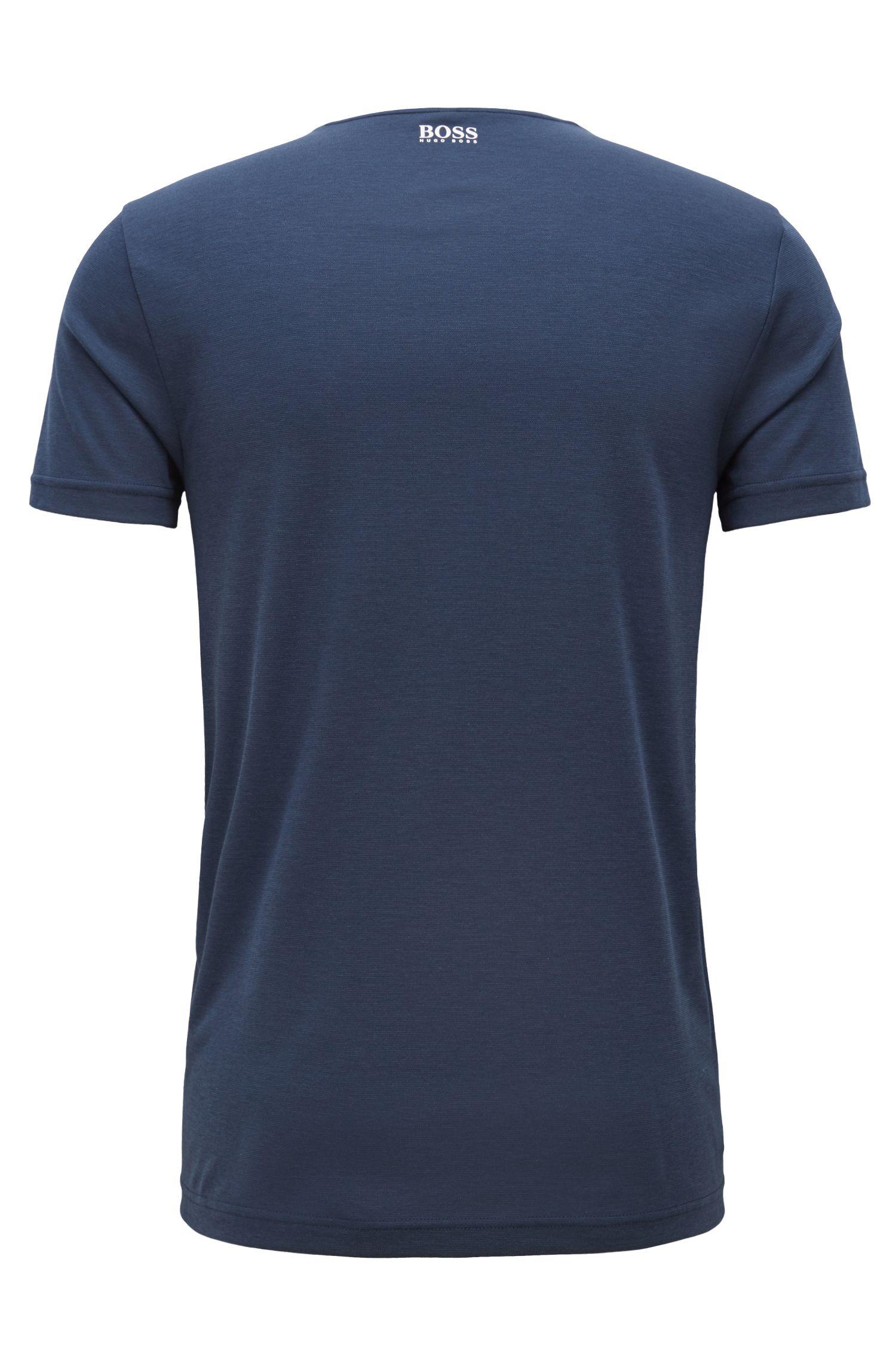 Slim-fit logo T-shirt with moisture-management, Dark Blue