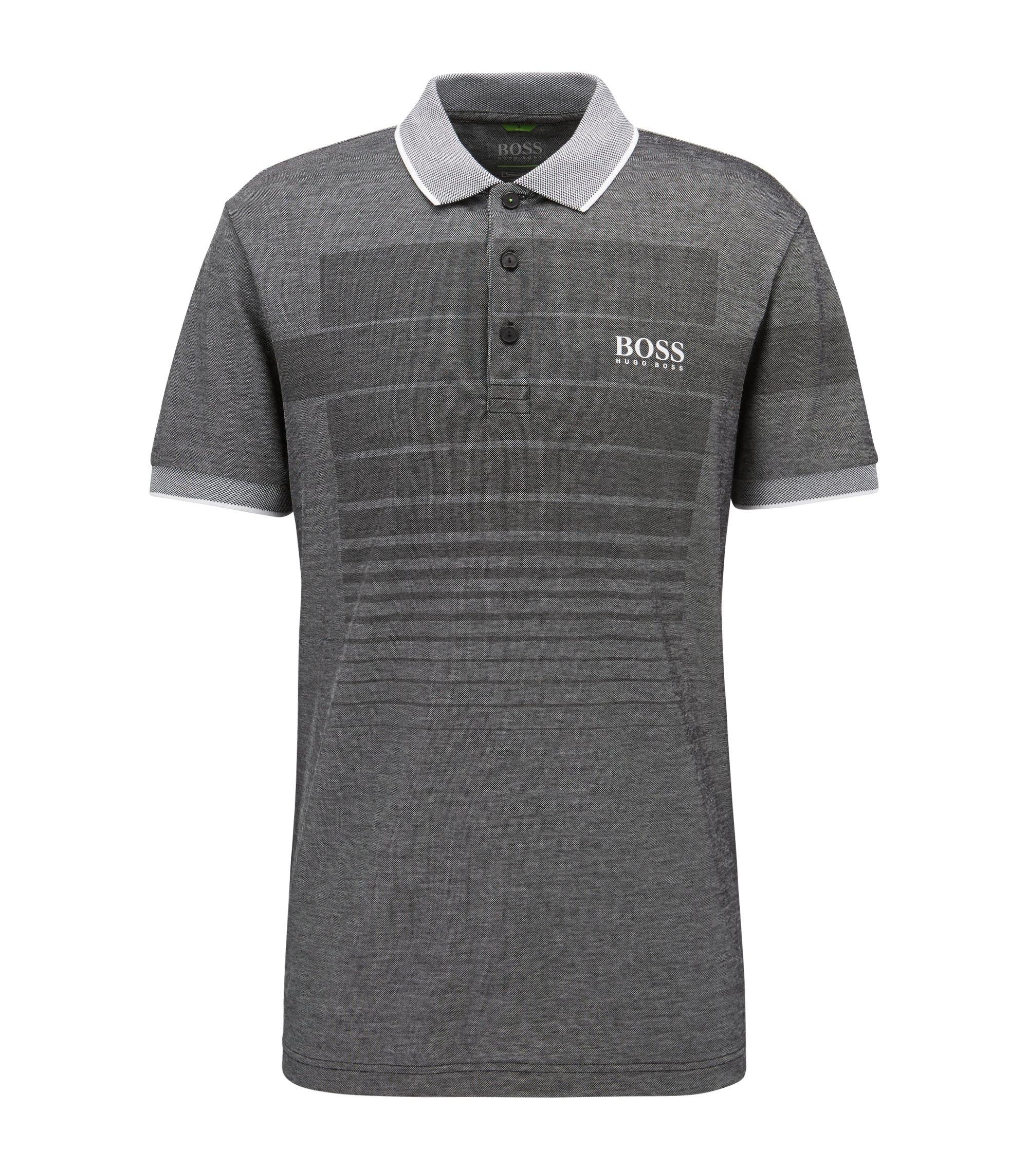 Polo à motif en coton mélangé avec col en maille piquée contrastante, Noir
