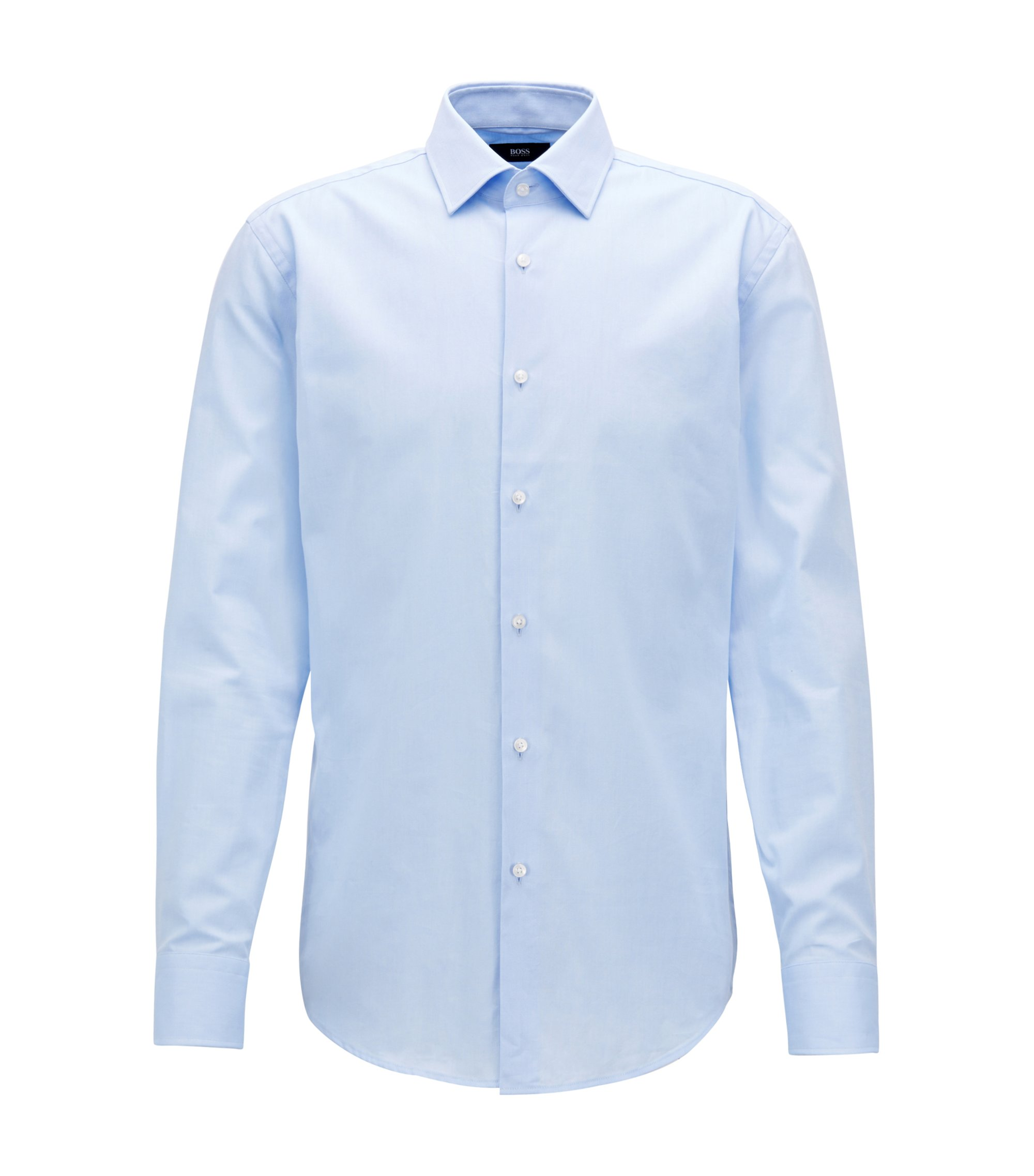 Camicia slim fit in cotone Royal Oxford, Celeste