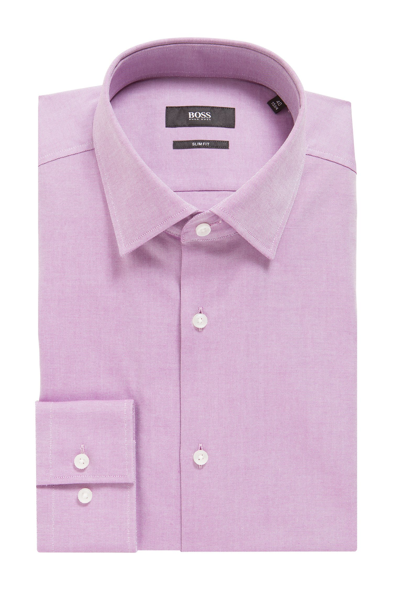 Camicia slim fit in cotone Royal Oxford, Rosa scuro