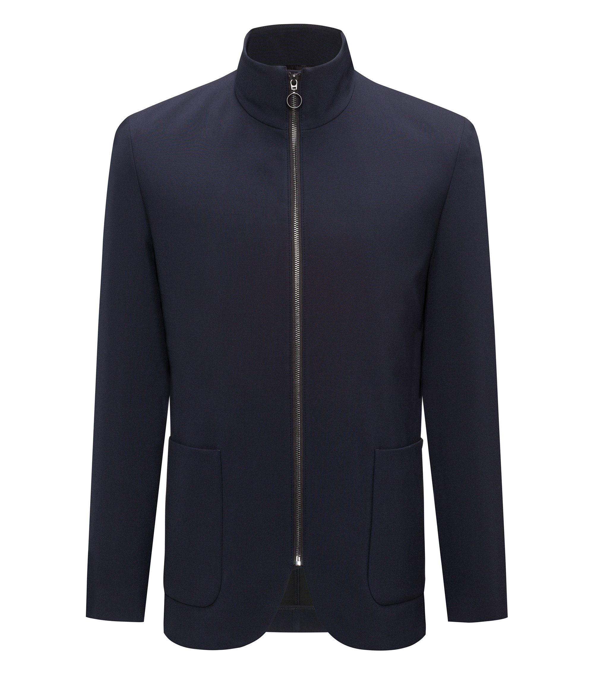 Zip-through jacket in technical stretch, Dark Blue