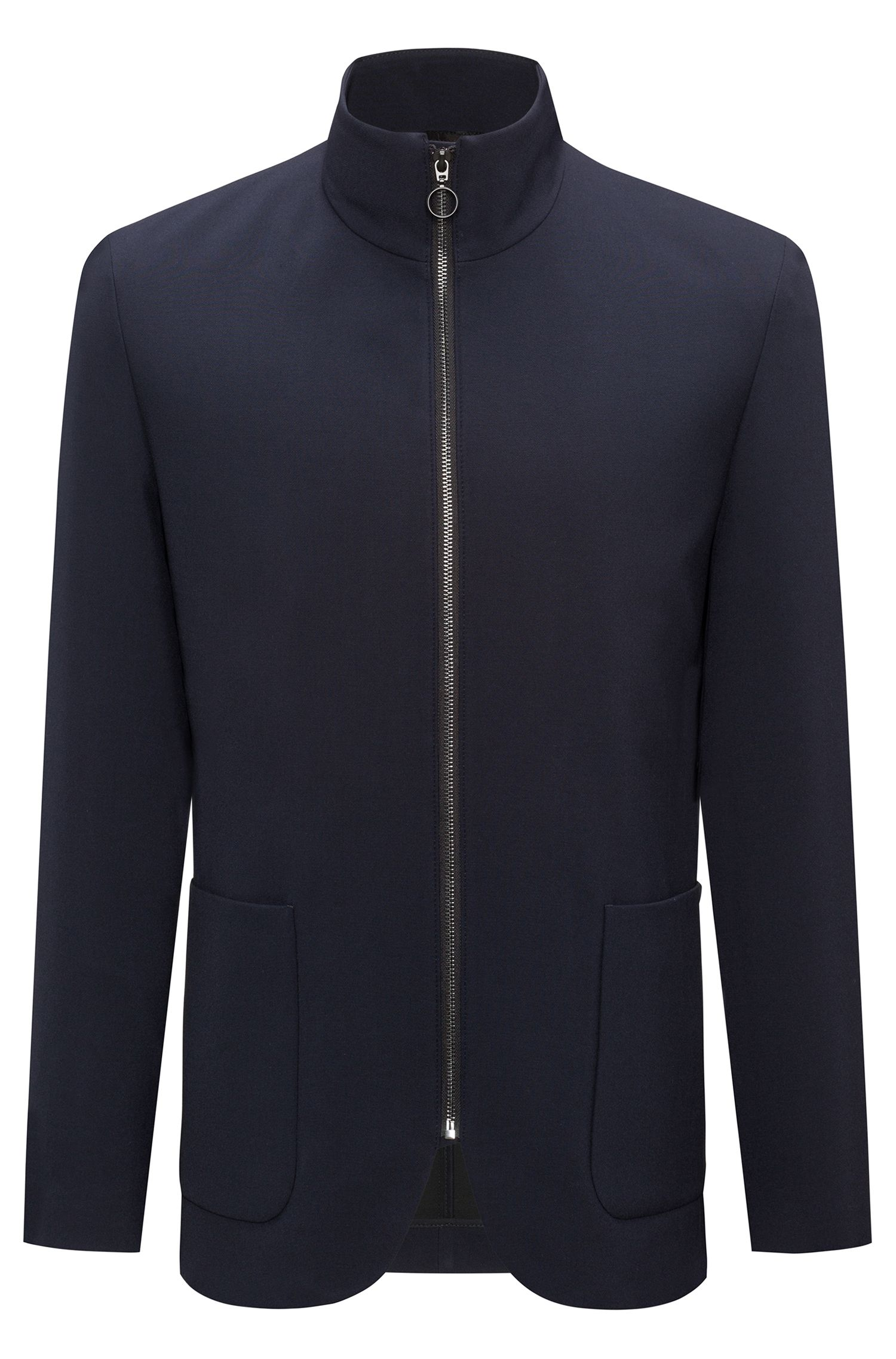 Zip-through jacket in technical stretch
