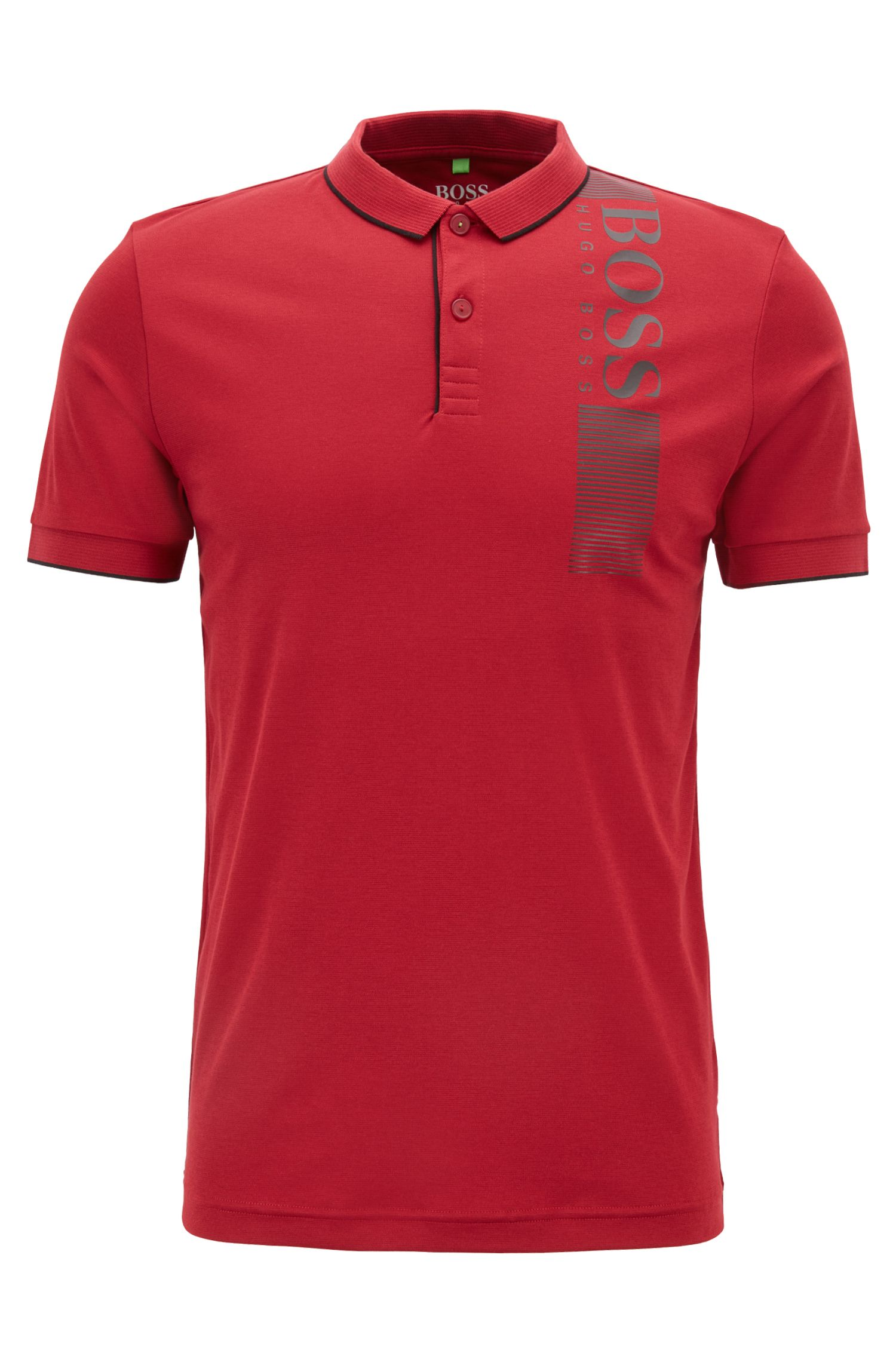 Slim-fit polo shirt with moisture management , Dark Red