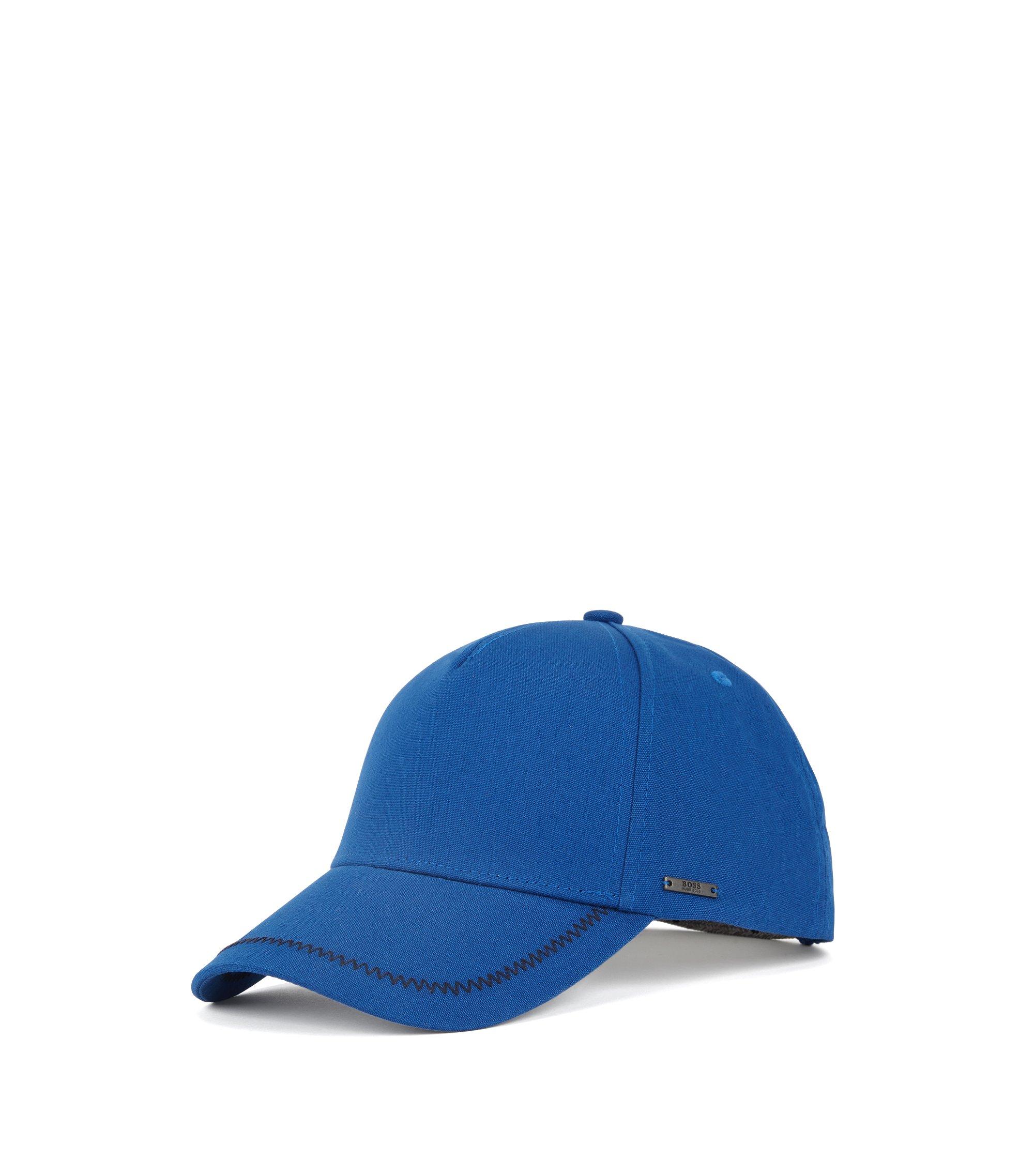 Cappellino in cotone con cuciture a zigzag, Blu