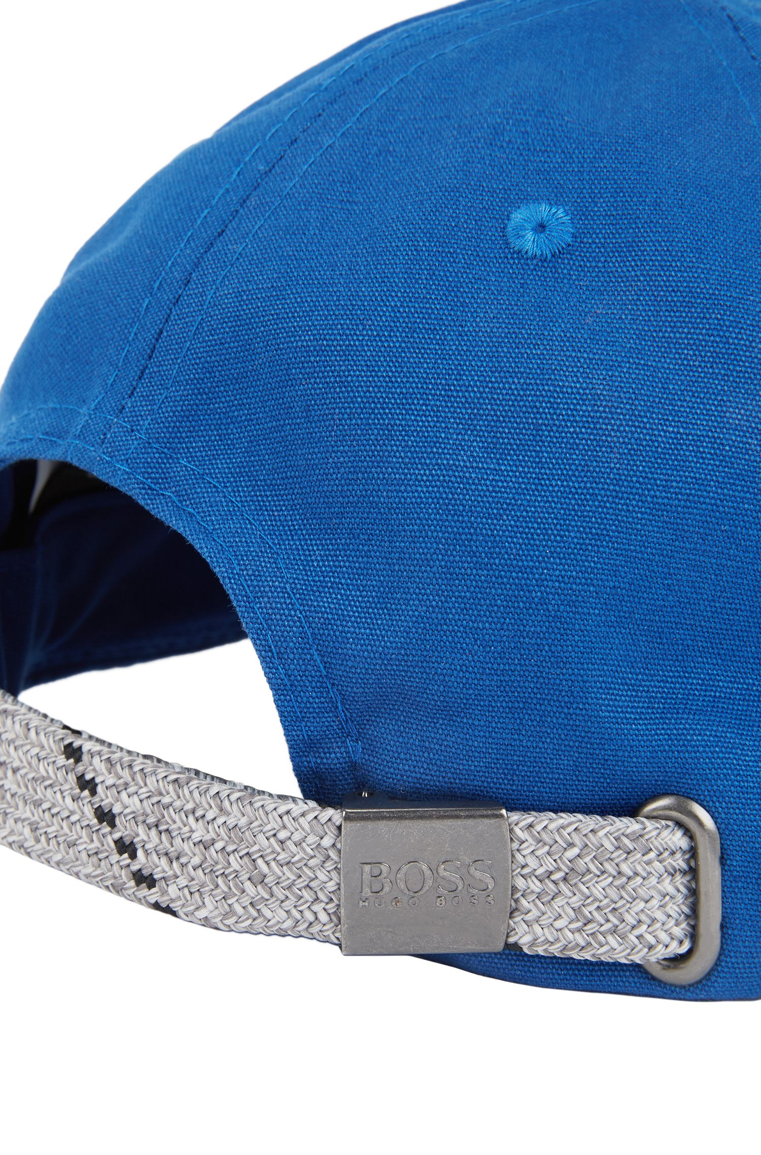 Cotton cap with zigzag stitching, Blue