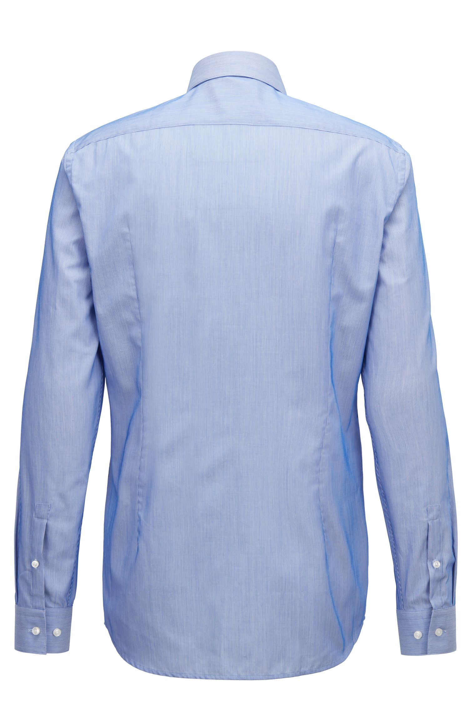 Slim-fit shirt in striped dobby cotton, Blue