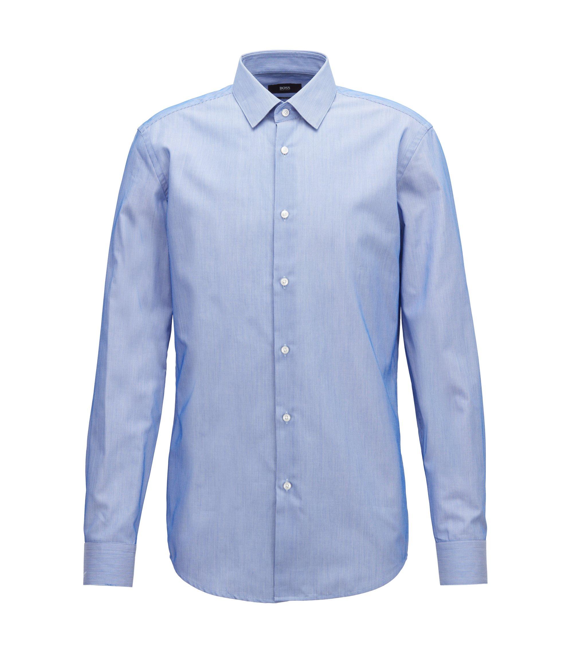 Camisa slim fit en algodón a rayas de tejido dobby, Azul