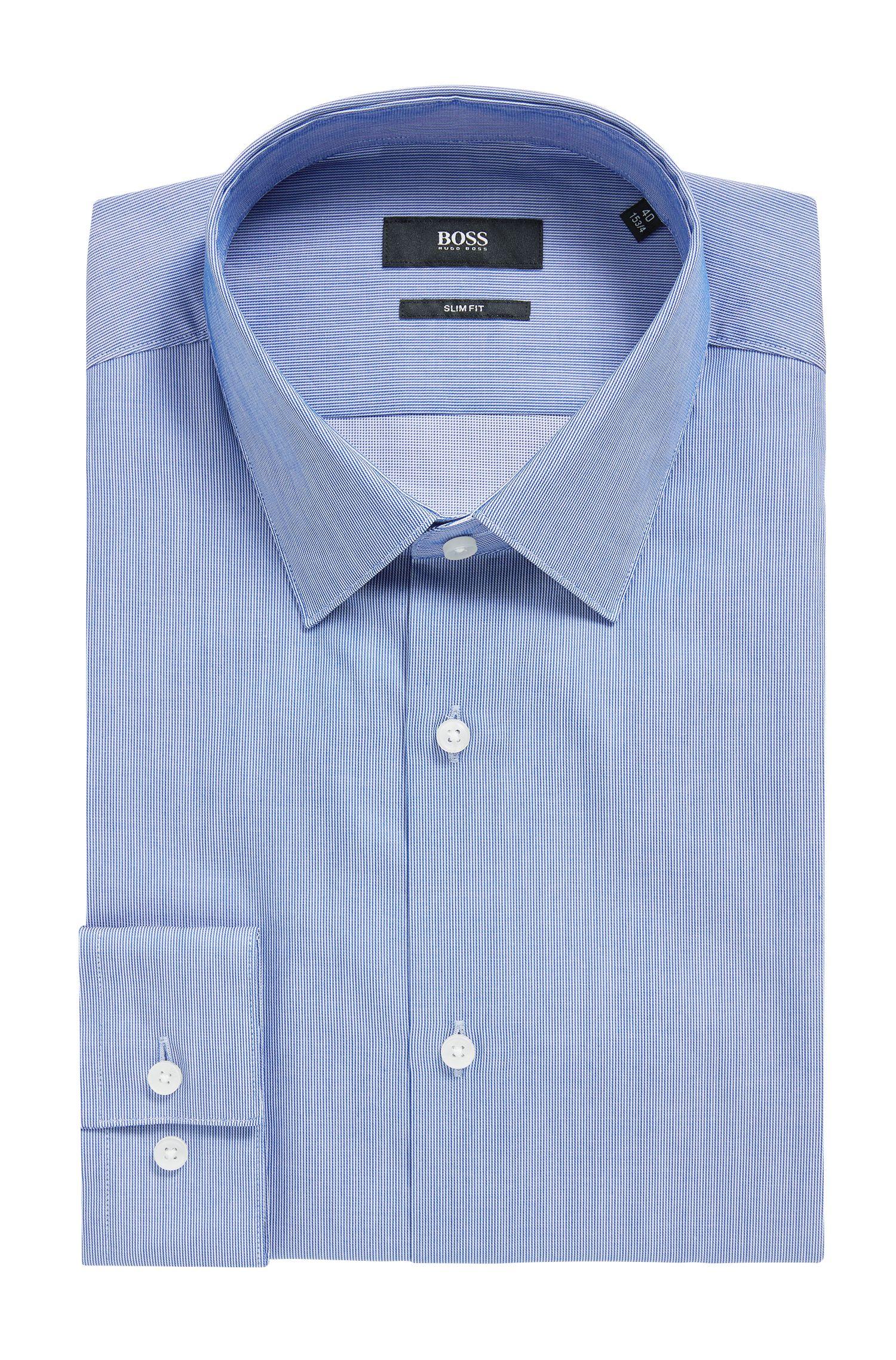 Slim-Fit Hemd aus strukturierter Baumwolle mit Streifen-Muster