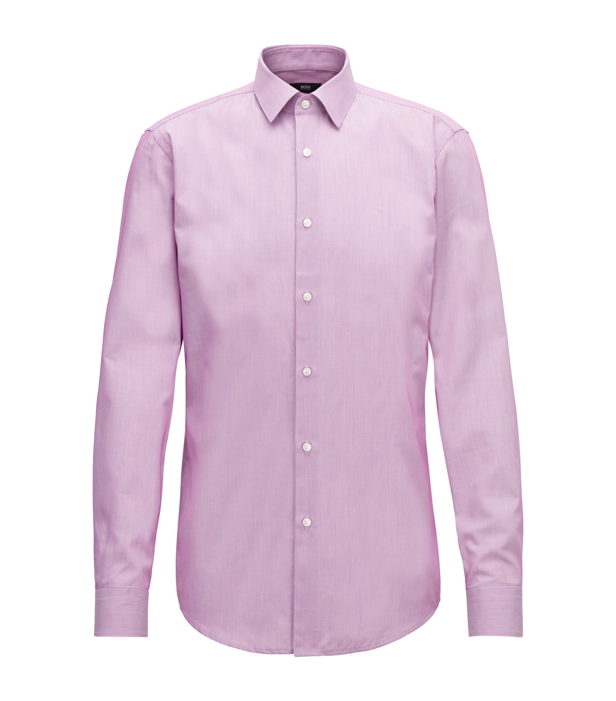 Slim-fit shirt in striped dobby cotton, Dark pink